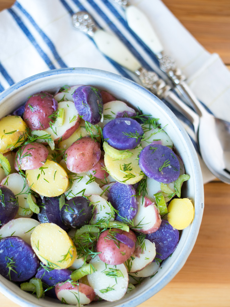 Red, White & Blue Potato Salad (No-Mayo) is the perfect make-ahead side. Made with a tangy-sweet dressing and tons of dill, it's fantastic for barbecues, potlucks, or as a side for anything grilled.
