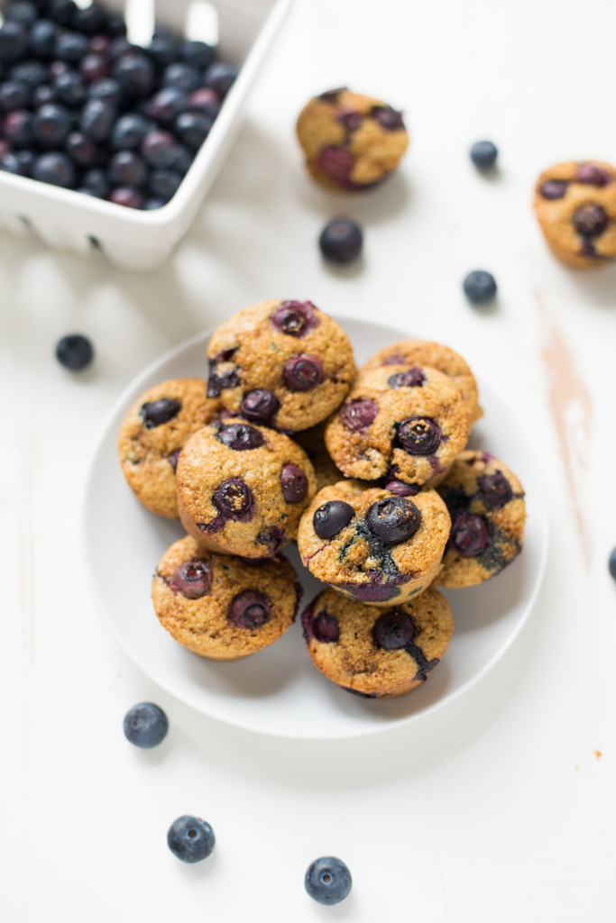 Easy to make and naturally sweetened, One-Bowl Blueberry Mini-Muffins are the perfect size for a snack or treat! Naturally gluten-free and dairy-free.