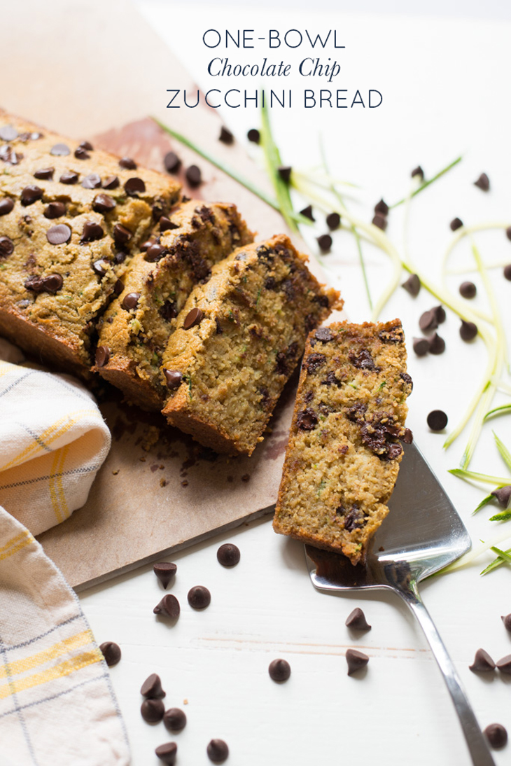 Perfectly tender and slightly sweet, One-Bowl Chocolate Chip Zucchini Bread comes together in just one bowl and is naturally gluten- and dairy-free. A delightful treat for breakfast, snack or dessert.