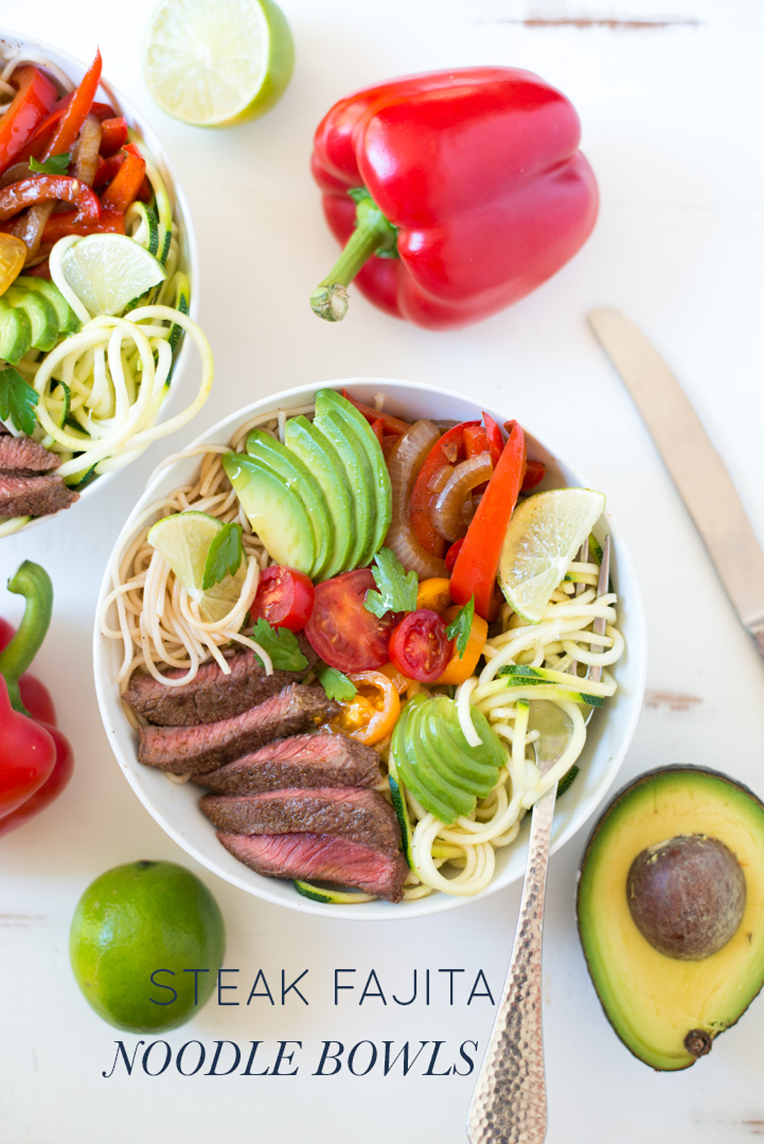 A fresh twist on fajitas, Steak Fajita Noodle Bowls are easy to make and can be made with pasta, zoodles, or both!