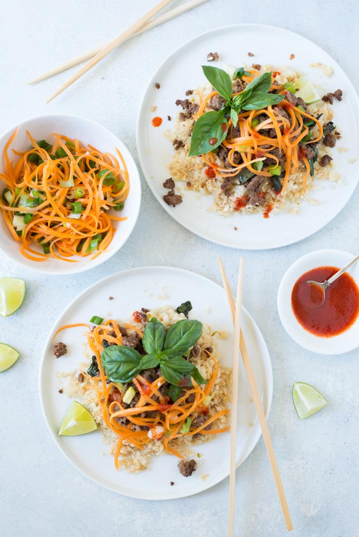 Fresh Thai flavors combine in Thai Basil Beef and Cauliflower Rice Bowls, a simple, gluten- and grain-free weeknight recipe.