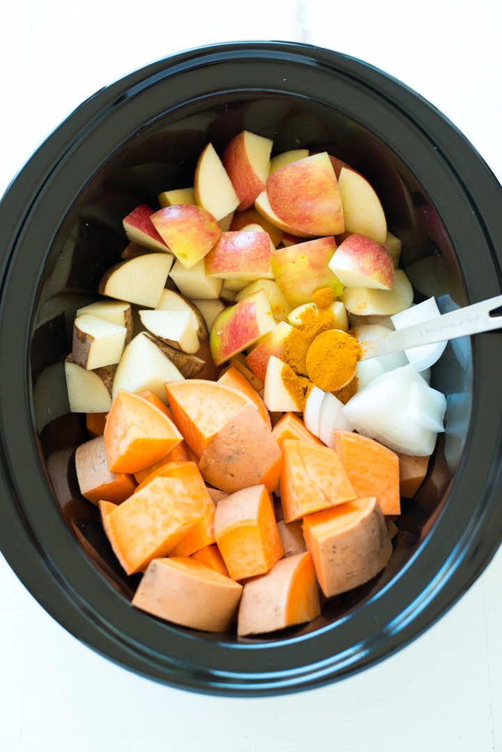 Slow Cooker Sweet Potato, Apple & Turmeric Soup is a simple crockpot recipe that yields creamy, nourishing results. It's a hit with the entire family, plus is gluten-free, dairy-free, vegan, paleo and Whole30 friendly! #realfoodwholelife #realfoodwholeliferecipe #glutenfree #dairyfree #healthyrecipe #paleo #paleorecipe #grainfree #cleaneating #soup #souprecipe #turmeric #apple #sweetpotato #crockpot #crockpotrecipe #fall #fallrecipe #whole30 #whole30recipe