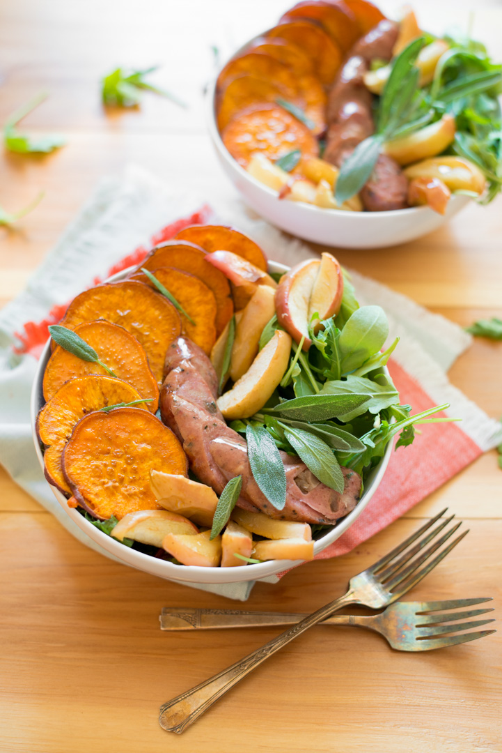 Simple to prepare in just one-pan, Roasted Sweet Potato, Apple and Chicken Sausage Bowls make for a hearty, warming weeknight dinner recipe. A dairy-free, gluten-free, paleo and Whole30 recipe the whole family can enjoy!