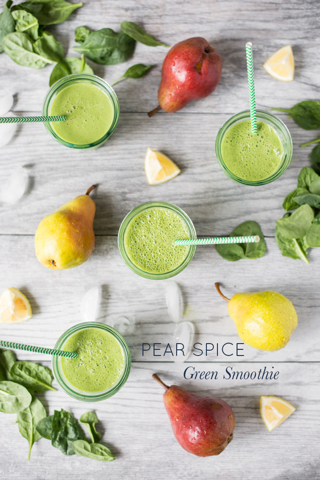 Sweet, spicy and full of green goodness, Pear Spice Green Smoothie is simple to make and a great way to add extra vegetables to your morning routine.