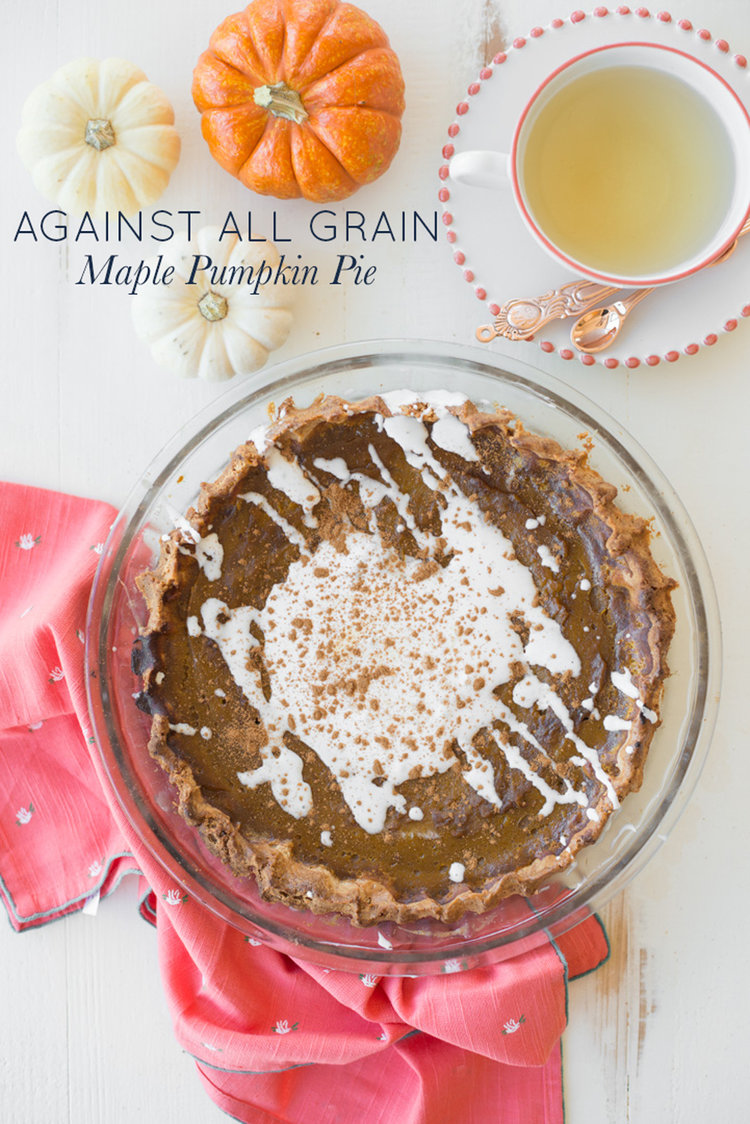 Against All Grain Maple Pumpkin Pie (Grain-Free, Gluten-Free, Dairy-Free) is the perfect paleo recipe for your holiday table.#realfoodwholelife #realfoodwholeliferecipe #glutenfree #dairyfree #healthy #clean-eating #fall #fallrecipe #pumpkin #pumpkinrecipe #halloween #halloweenparty #healthyhalloween #thanskgiving #healthythanksgiving #pumpkinspice