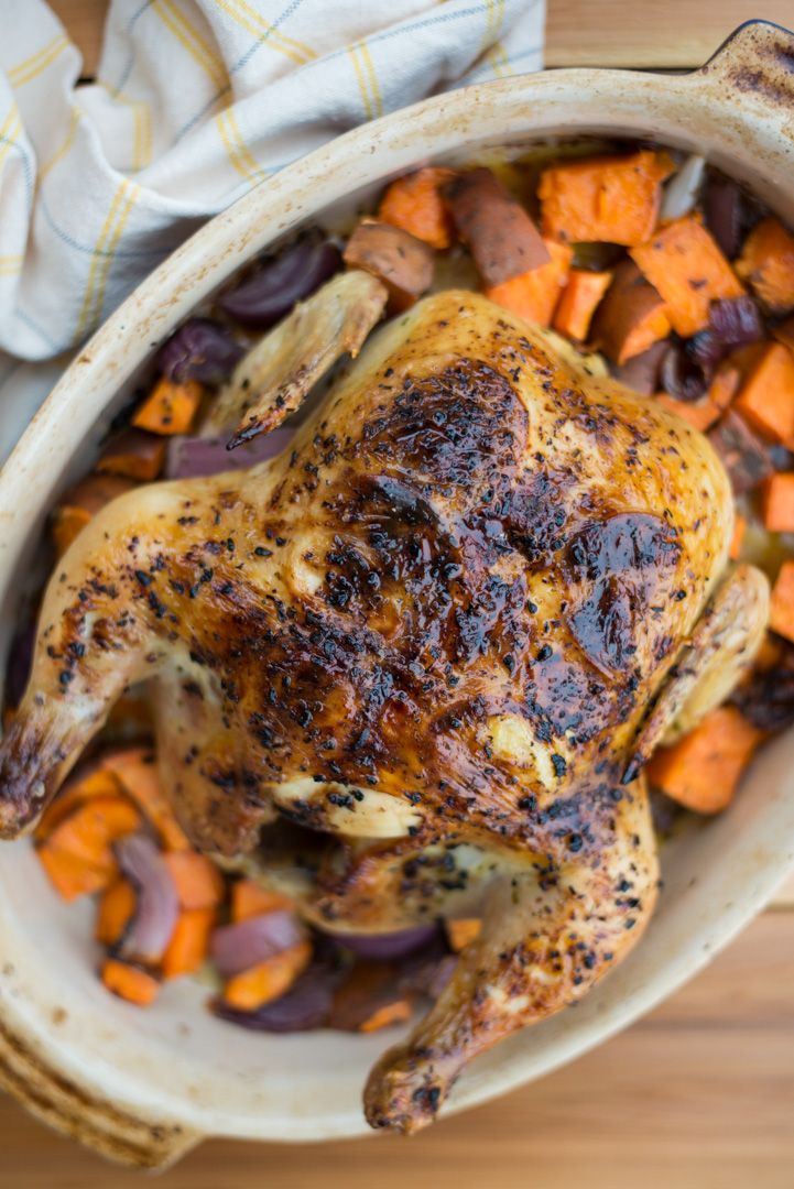 The perfect, simple dinner, 5-Ingredient Lemon Herb Roast Chicken is easy to make with just a handful of ingredients, and yields delicious results every time.