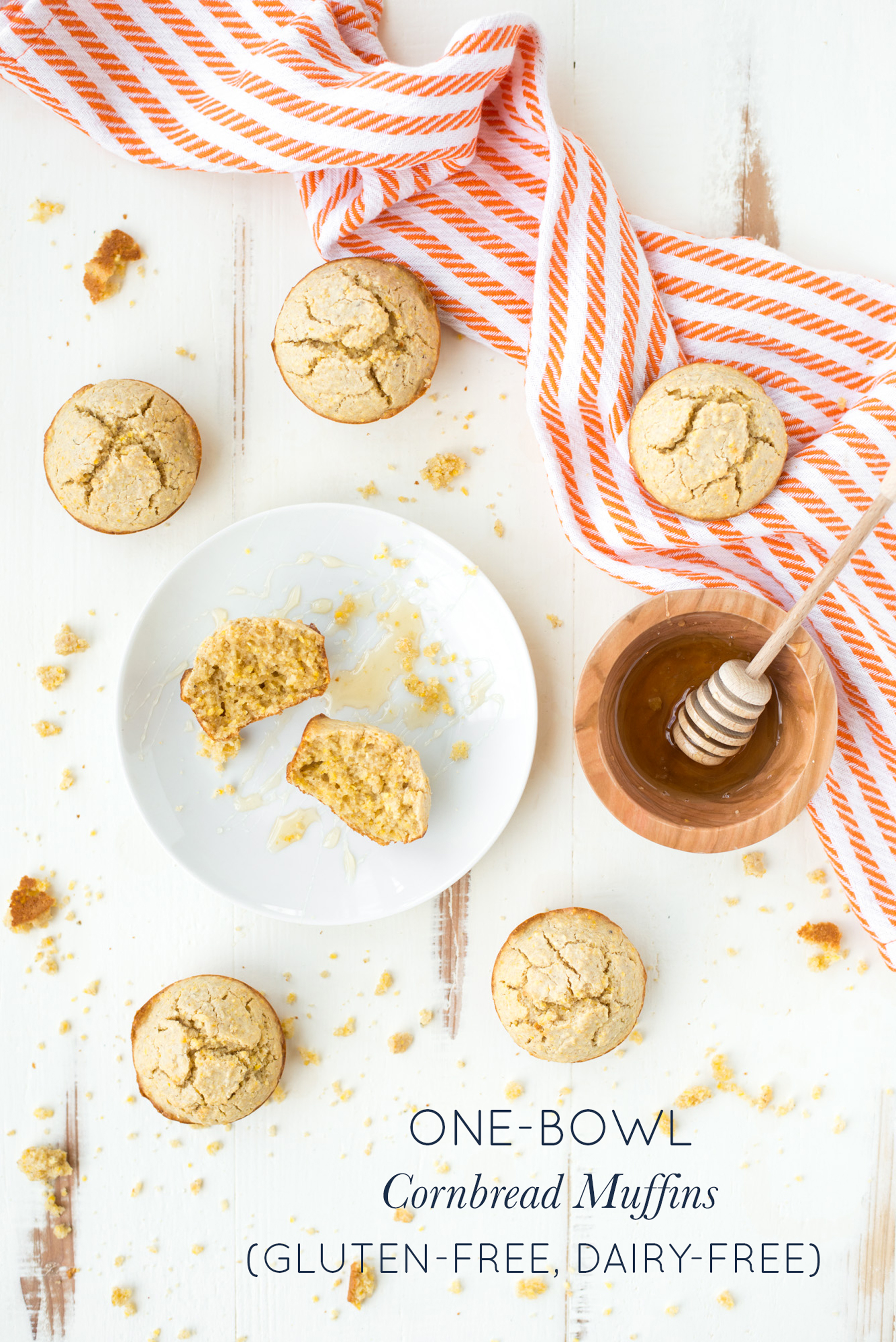 Fresh out of the oven, One-Bowl Cornbread Muffins (Gluten-Free, Dairy-Free) are tender, slightly sweet, and perfect as a side or on their own.