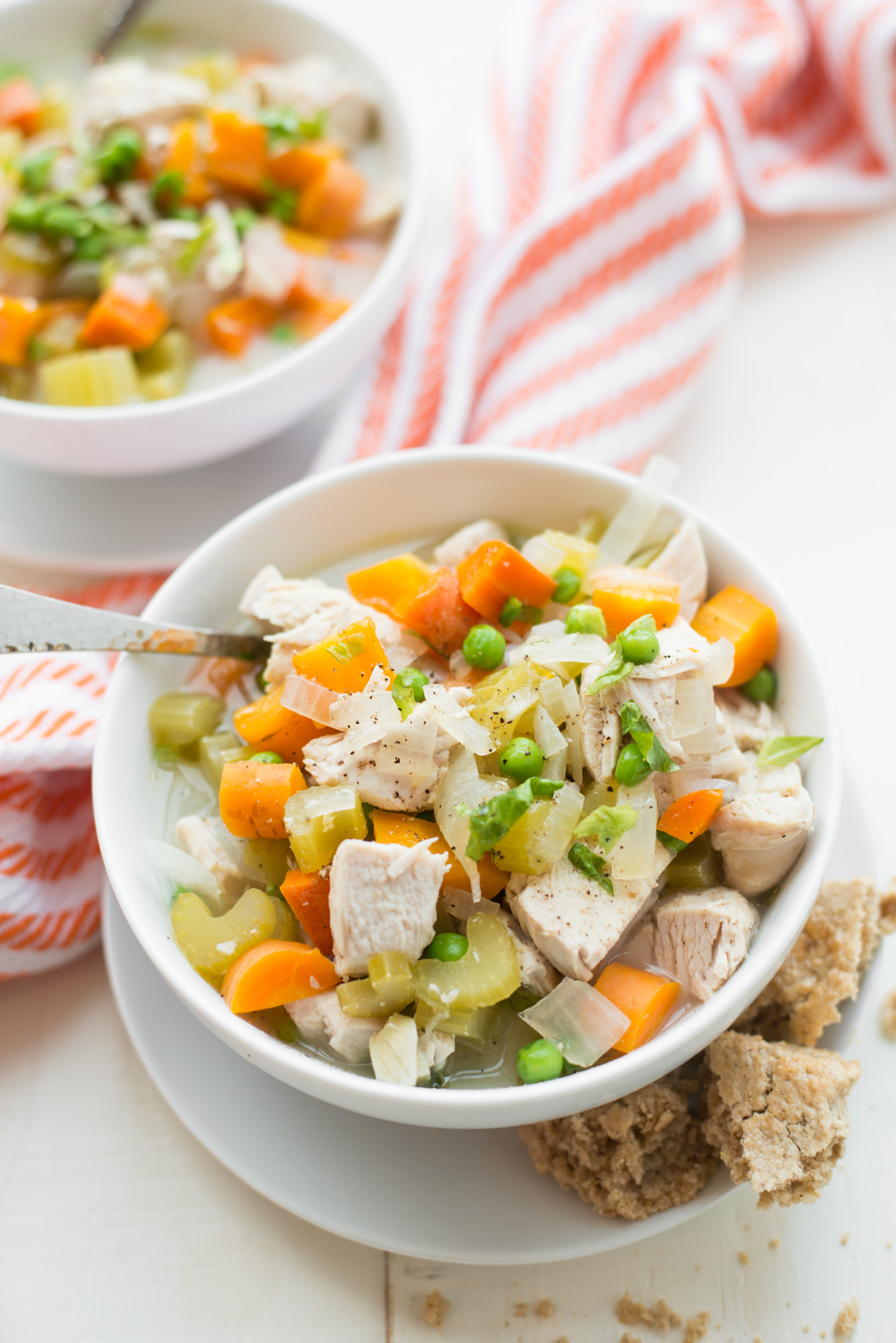 Packed with chicken and vegetables, Instant Pot + Slow Cooker Chicken Pot Pie (Gluten-Free, Dairy-Free) is made with real food ingredients and tastes amazing! paleo, whole30, grain-free, gluten-free, dairy-free