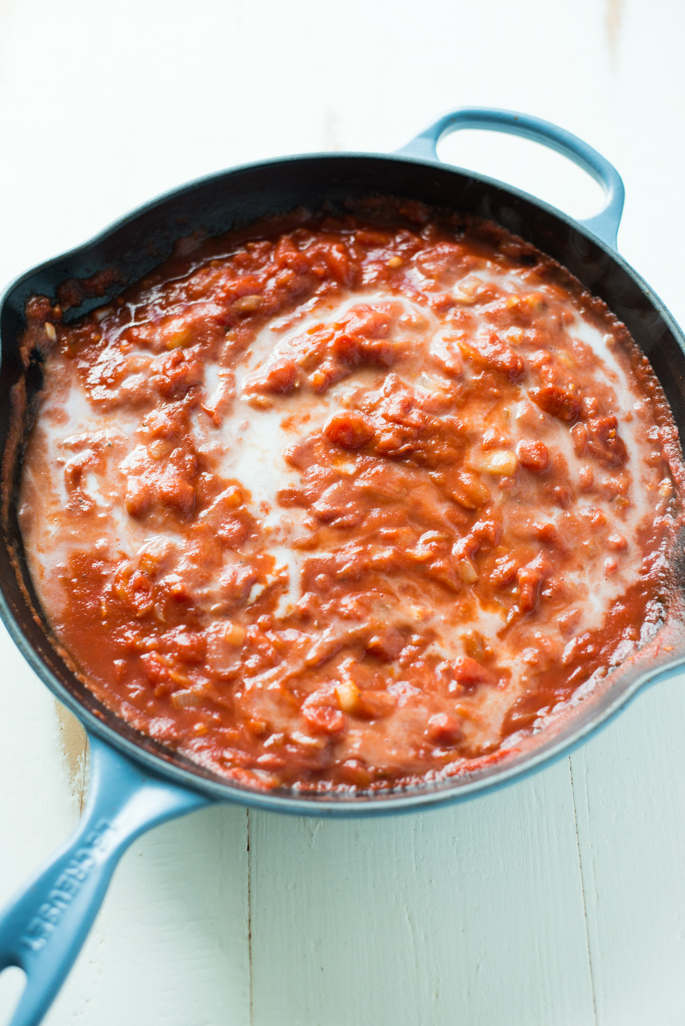 Simple pantry ingredients come together in this creamy, dreamy 20-Minute Tomato Cream Sauce. Gluten-free, dairy-free, crazy easy, and completely divine!