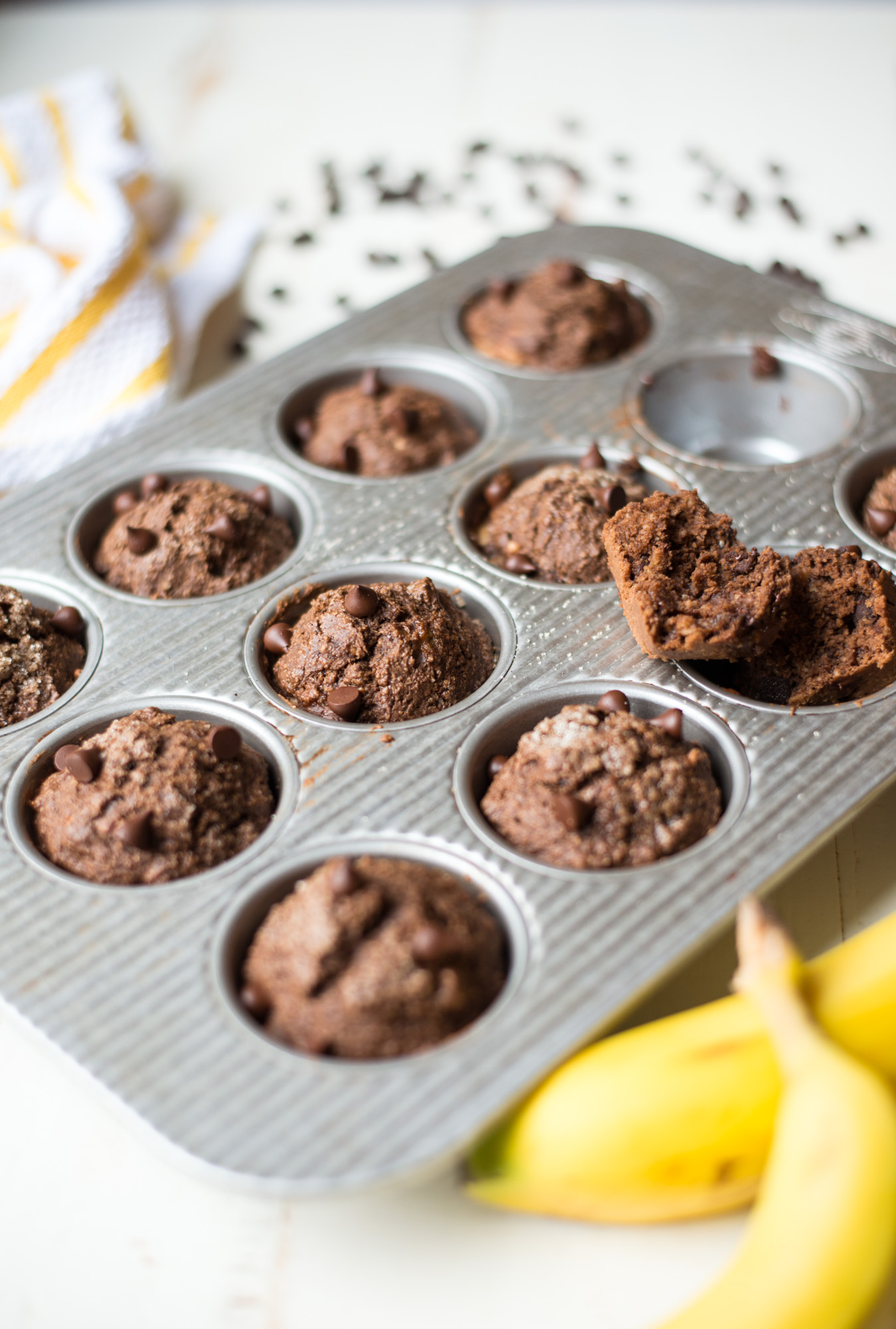 An easy, decadent treat, One-Bowl Double Chocolate Banana Breakfast Muffins are just the thing for mornings on-the-go. Gluten-free, dairy-free, naturally sweetened and totally delicious!
