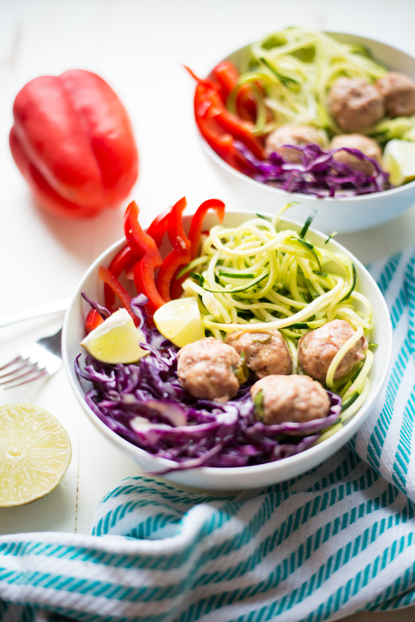 Light, bright, and full of vibrant flavors, Easy Southwest Zoodle Bowls with Turkey Meatballs is a simple weeknight recipe everyone will love.