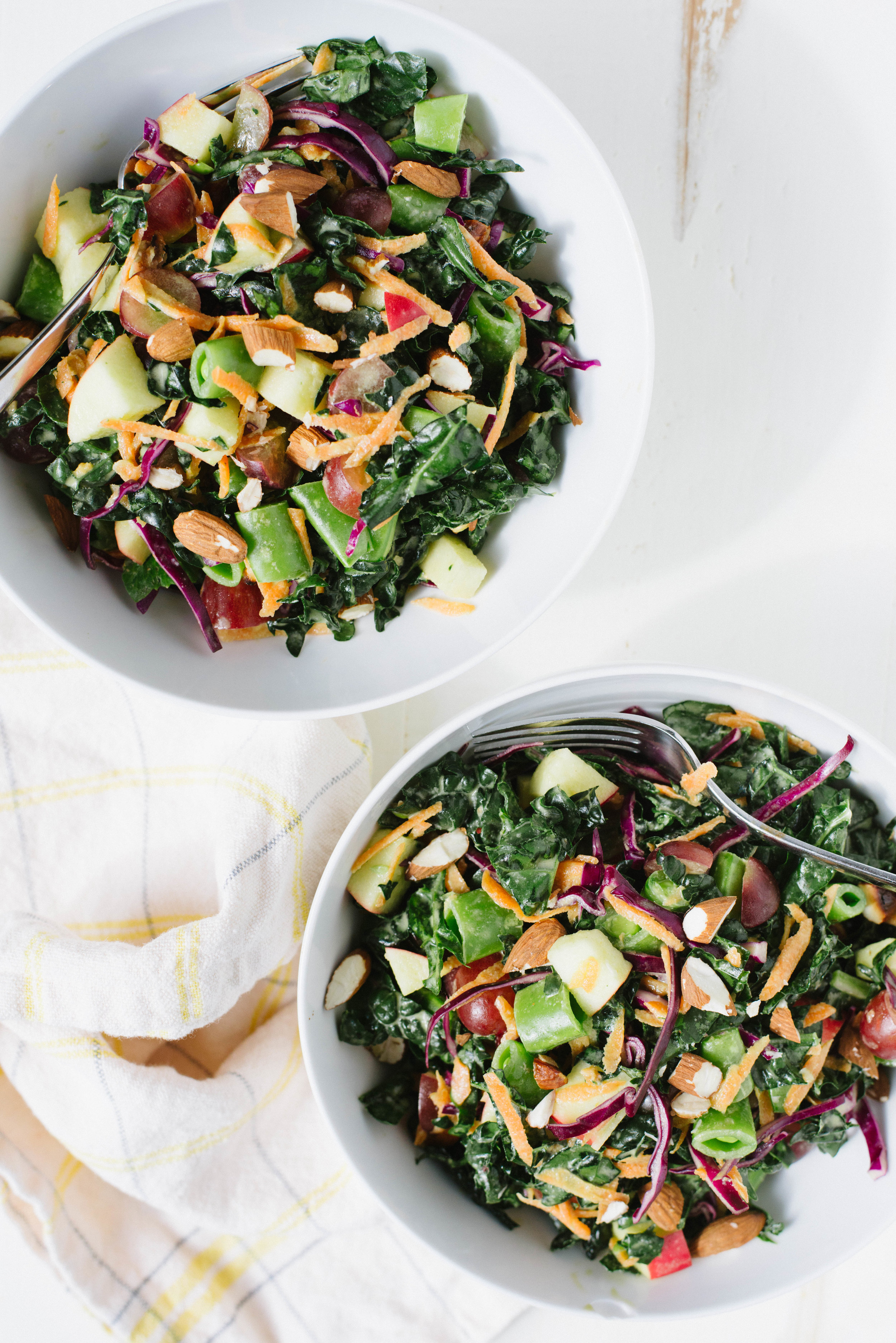 Easy to make ahead and packed with flavor, Chopped Kale Salad with Tahini Citrus Dressing is just the thing to pack for lunch, a picnic or a potluck.