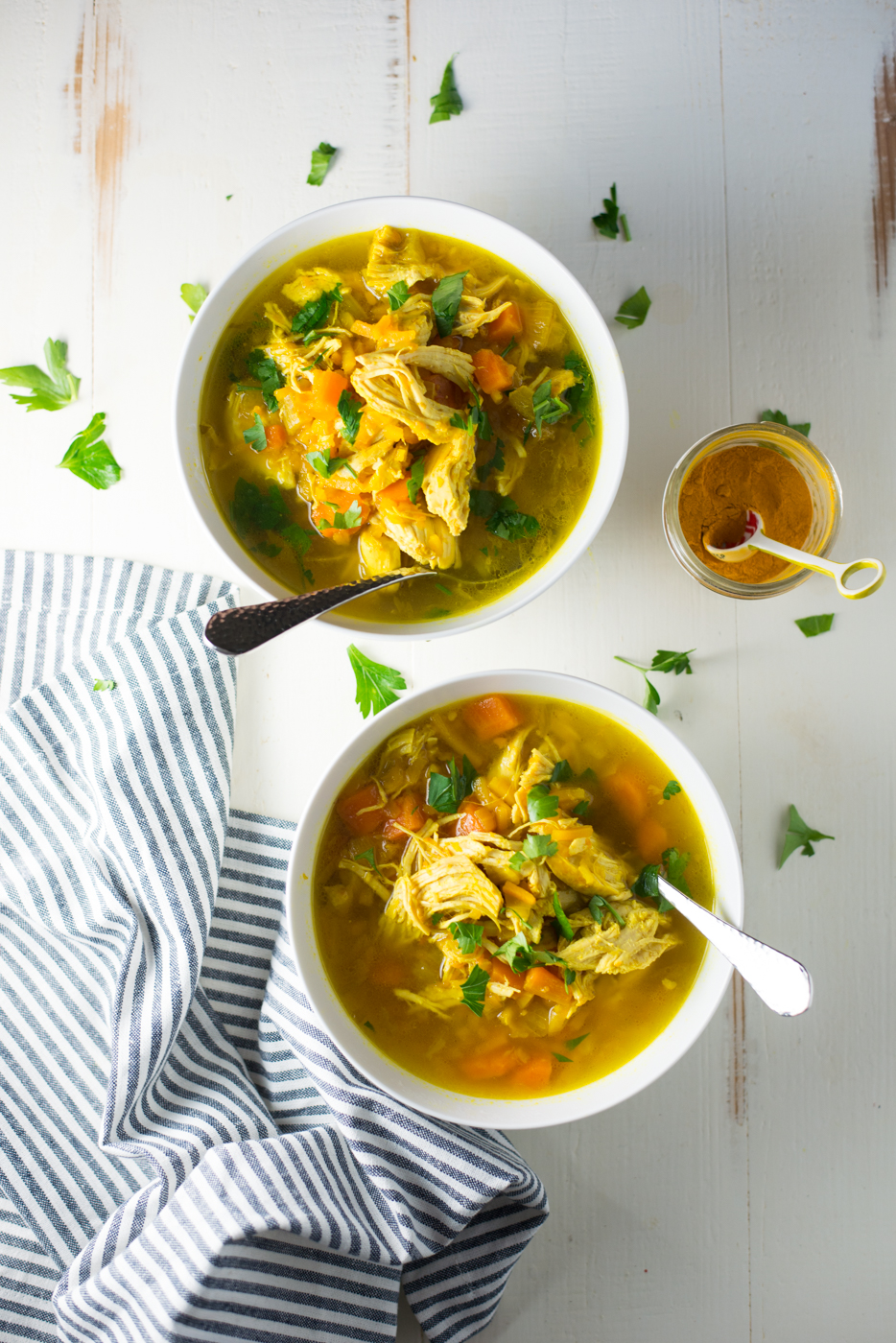 Packed with chicken, veggies, and good-for-you turmeric, Instant Pot + Slow Cooker Turmeric Chicken No-Noodle Soup is warming, nourishing, and so delicious!