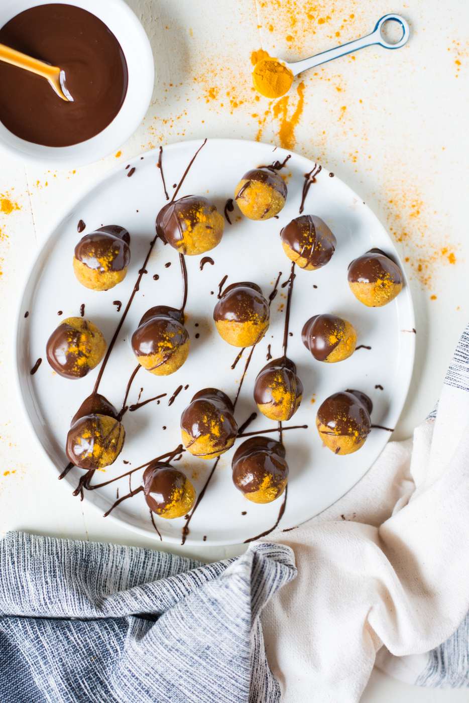 Glow from the inside out with easy, insanely delicious Chocolate Covered Golden Glow Bites! grain-free, paleo, snack, vegan, turmeric