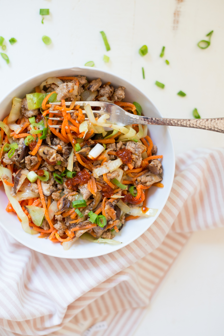 All the flavor of an egg-roll, but without the fuss. Tossed together with a tangle of veggie noodles, Egg Roll Veggie Noodle Bowls are gluten-free, dairy-free, soy-free, egg-free, nut-free, Paleo, Whole30 and so delicious!