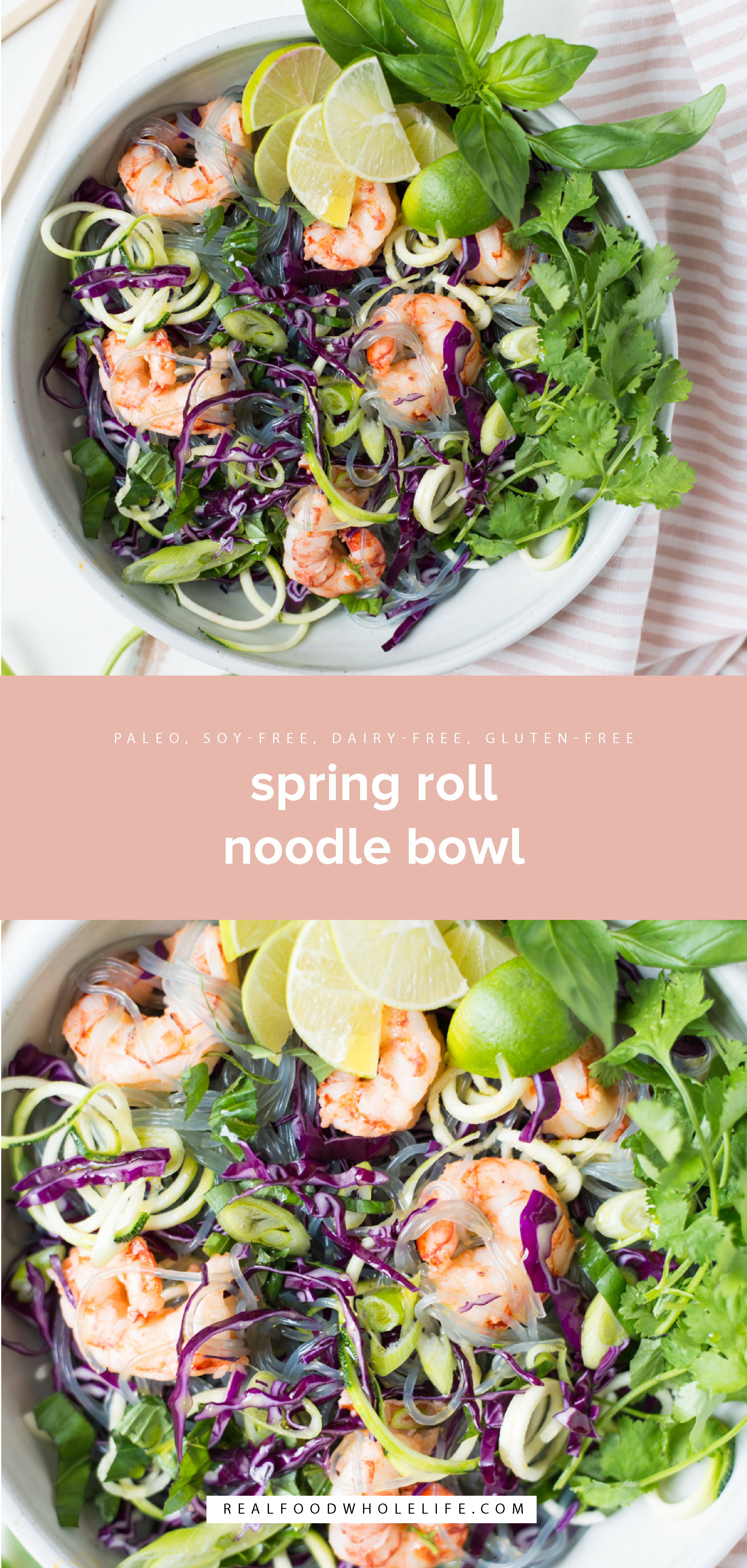 Virtually no cooking is required for this super-fast, super-fresh paleo recipe. Spring Roll Noodle Bowls is what's for dinner tonight! Gluten-free, dairy-free, soy-free and nut-free.