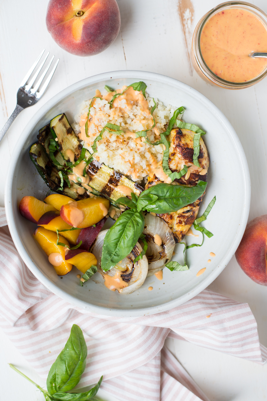 Bursting with vibrant flavors and nourishing ingredients, Peach Chicken Basil Glow Bowls will have your feeling amazing from the inside out. A gluten-free, dairy-free, paleo, whole30 recipe.