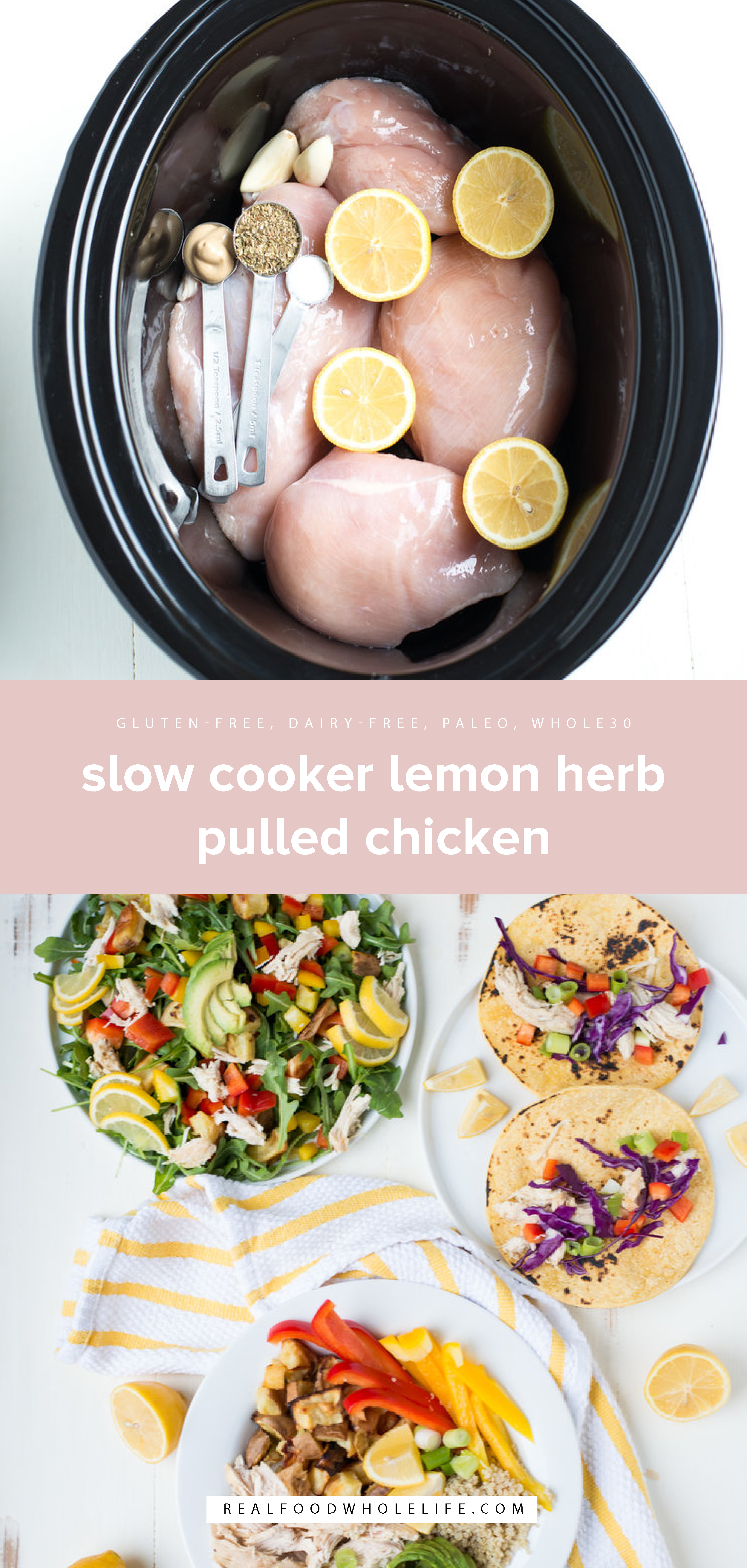 Bright, tangy, and crazy simple to make, Slow Cooker Lemon Herb Pulled Chicken is a no-fuss weeknight dinner everyone will love. Read on for the chicken recipe, plus 3 ways to use it, so you can cook once and eat well all week!