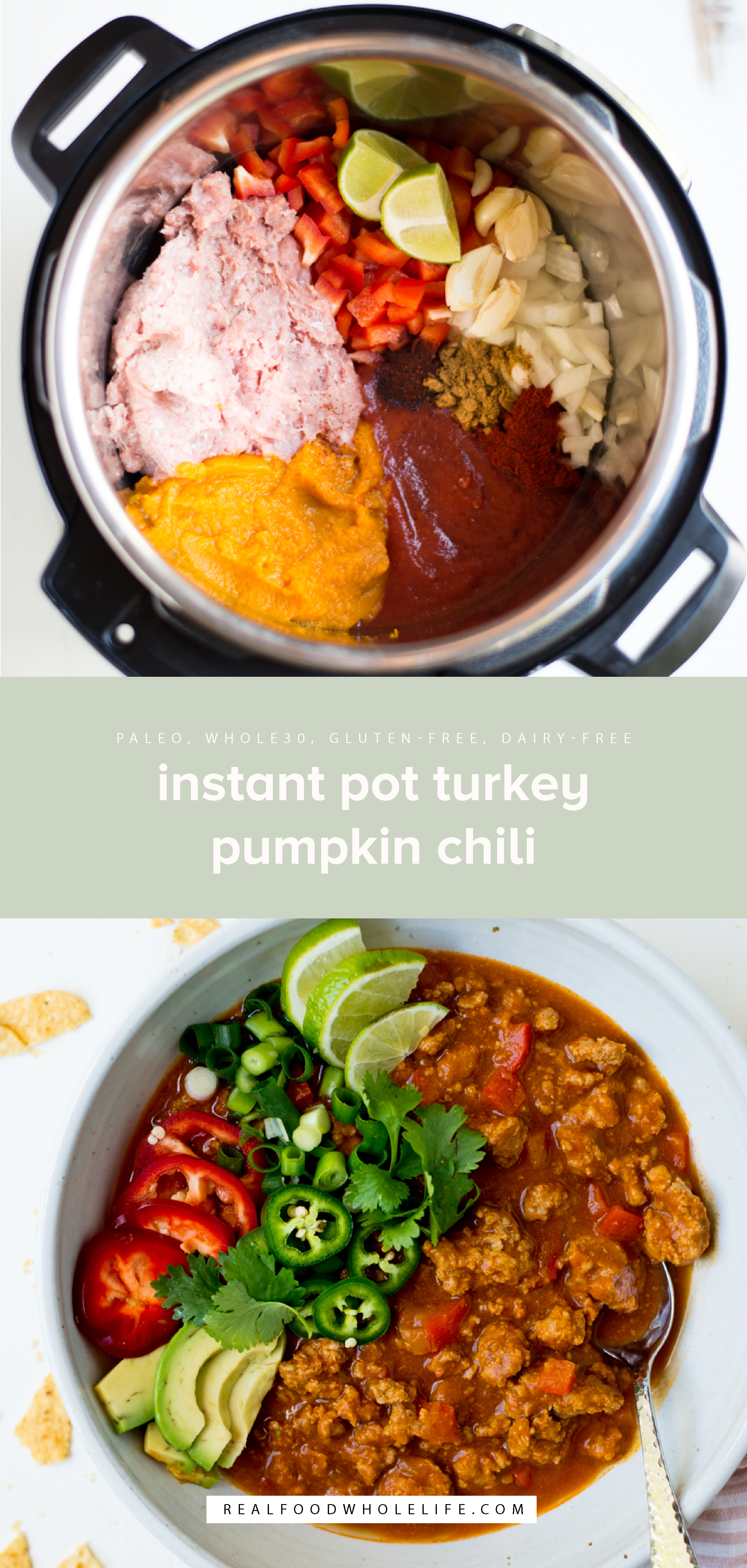Instant Pot Turkey Pumpkin Chili is a simple, healthy one-pot meal that can be prepared in a matter of minutes. A gluten-free, dairy-free, paleo, whole30 recipe. #realfoodwholelife #realfoodwholeliferecipe #recipe #mealprep #whole30 #whole30recipe #paleo #paleorecipe #glutenfree #dairyfree #healthy #healthyrecipe #easyrecipe #quickrecipe #lunch #mayofree #nutfree #eggfree