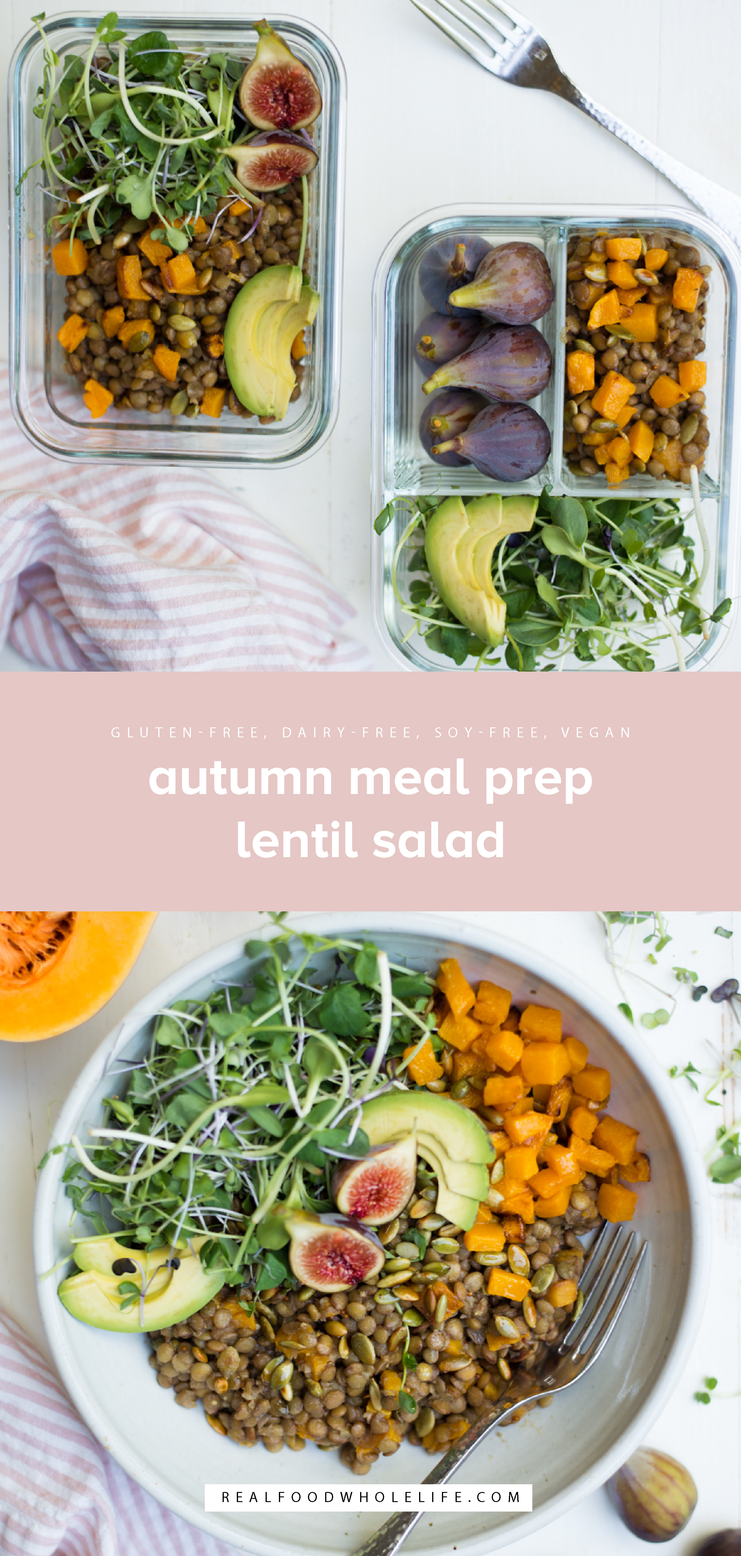 Autumn Meal Prep Lentil Salad is packed with nutrition and full of beautiful fall flavors. Perfect to prep-ahead and take for lunch, or enjoy as a side dish anytime. A gluten-free, dairy-free, vegetarian, vegan recipe. #realfoodwholeliferecipe #recipe #dinner #glutenfree #dairyfree #healthy #healthyrecipe #easyrecipe #quickrecipe #eggfree #mayofree #soyfree #vegetarian #vegan #mealprep #mealplanning #lunch #makeahead