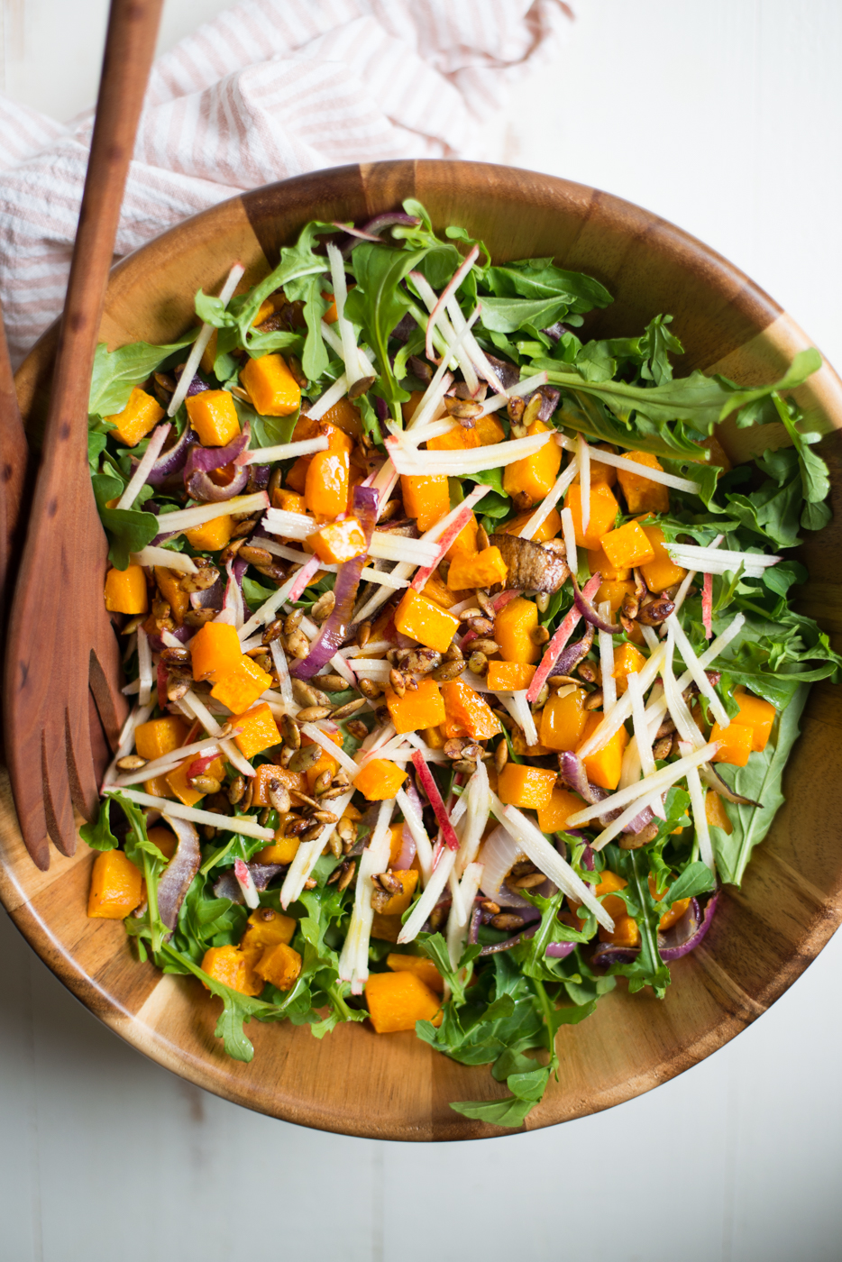 Roasted Butternut Squash Harvest Salad is bursting with fresh fall flavors and perfect for your autumn holiday table or any night of the week. A gluten-free, dairy-free, paleo, whole30 recipe. #realfoodwholelife #realfoodwholeliferecipe #recipe #salad #paleo #paleorecipe #glutenfree #grainfree #dairyfree #healthy #healthyrecipe #easyrecipe #quickrecipe #whole30 #whole30recipe #butternutsquash #fall #autumn