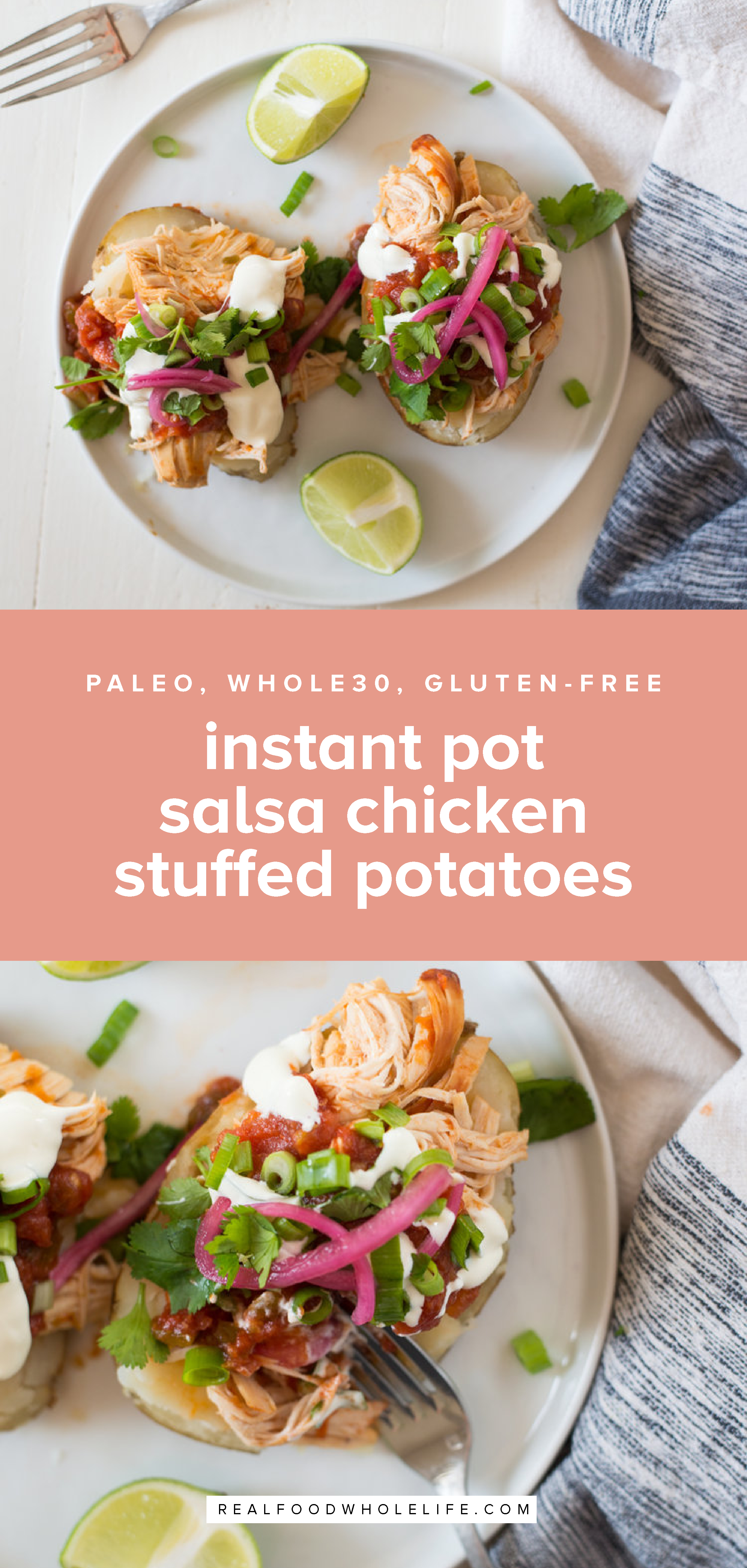 3-Ingredient Instant Pot Salsa Chicken Stuffed Potatoes is the easiest, most delicious, crazy simple recipe. Everything cooks at once, so dinner's done in minutes! #realfoodwholelife #Glutenfree #dairyfree #grainfree #paleo #Whole30 #healthyrecipe