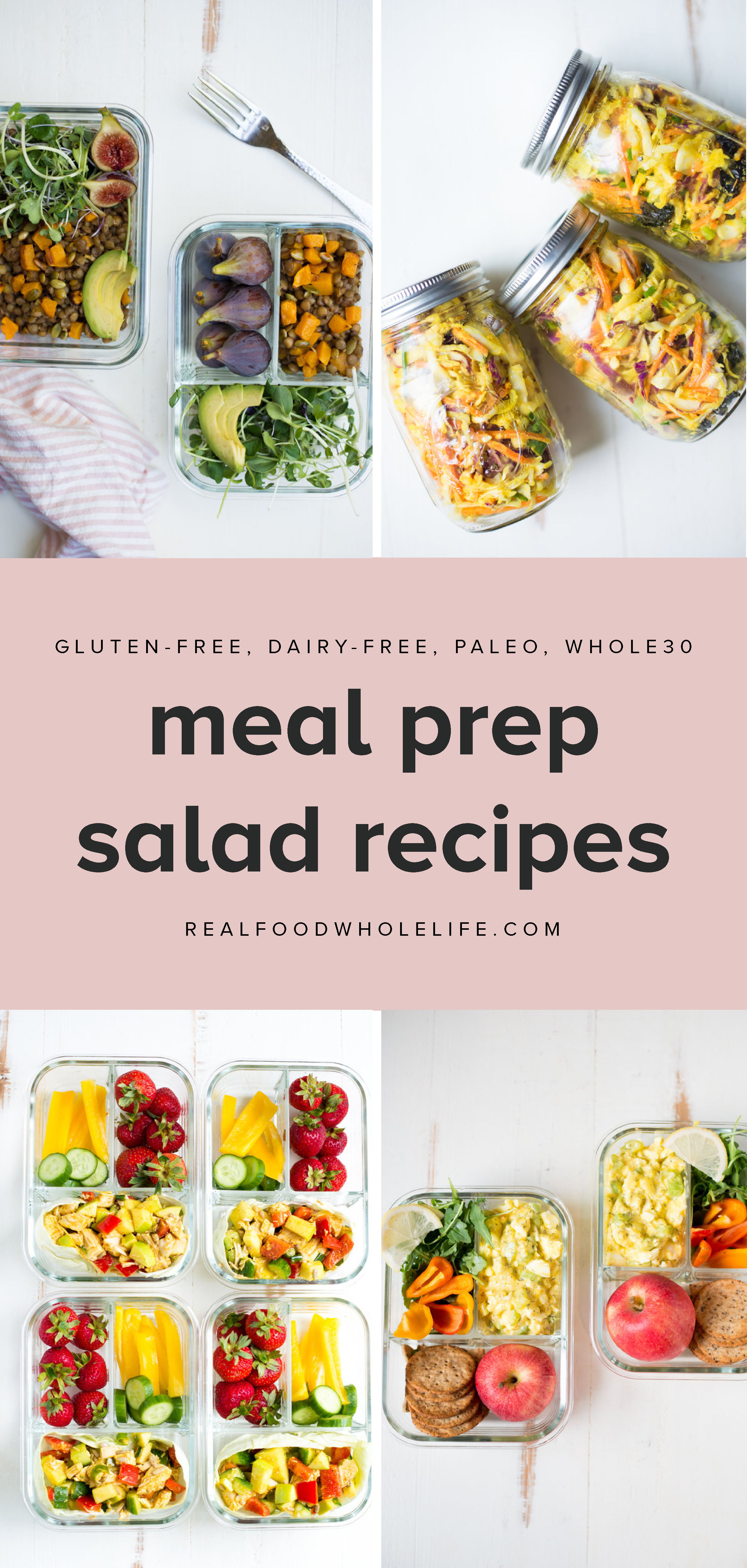 A collection of 10 healthy salad recipes from Real Food Whole Life that are perfect for meal prep. #realfoodwholelife #recipe #healthy #salad #glutenfree #dairyfree #paleo #whole30 #vegetarian