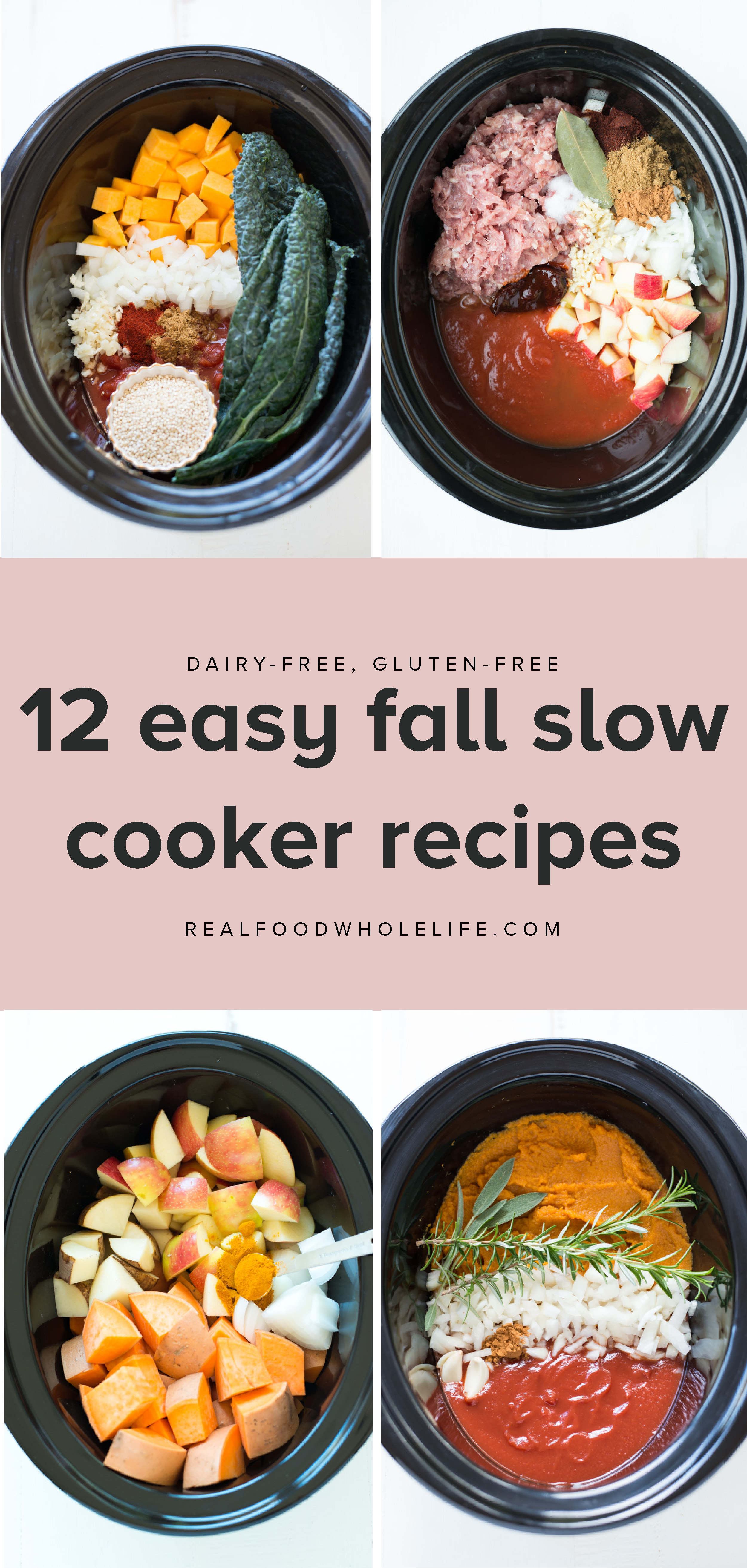12 easy, healthy fall recipes to throw in your slow cooker from Real Food Whole Life. #realfoodwholeliferecipes #fallrecipes #healthyfallrecipes #dairyfreerecipes #glutenfreerecipes #crockpotrecipeideas #fallcrockpot #fallslowcooker #slowcookerrecipeideas