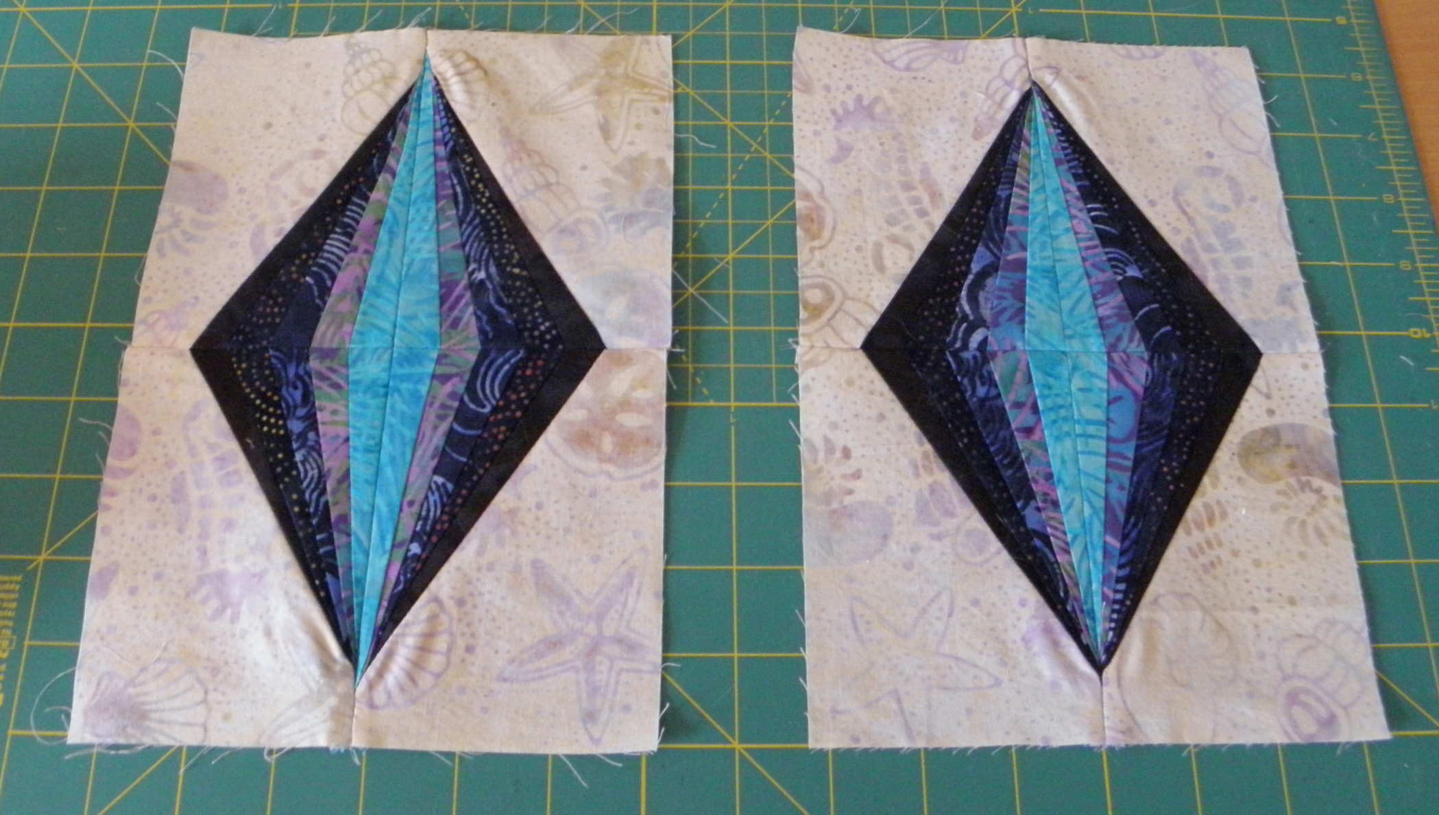 No tear block on left. Traditional paper piecing block on right.