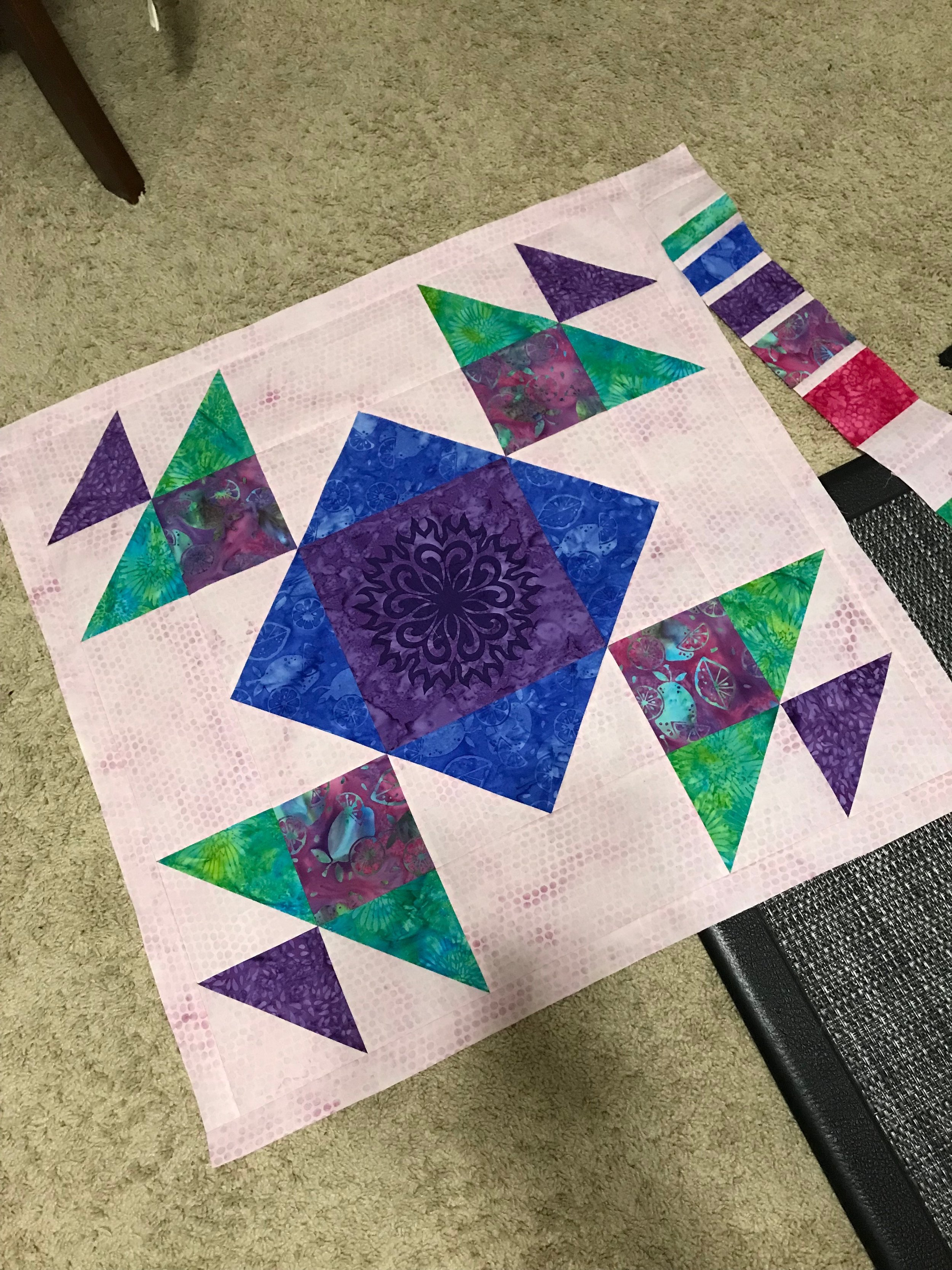 The first border had to be partially attached then the other borders were sewn on before the first one was finished.