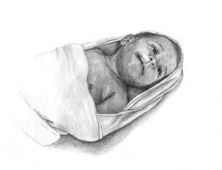 Baby Portrait in Pencil