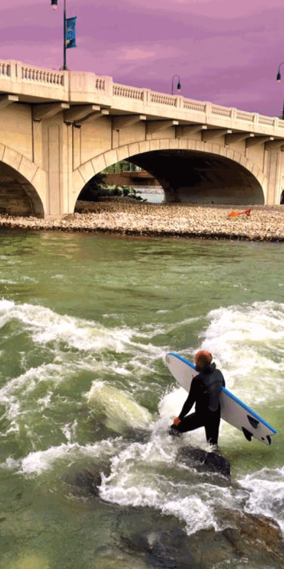 Photo:    The 10th Street wave is the hub of river surfing in Calgary.