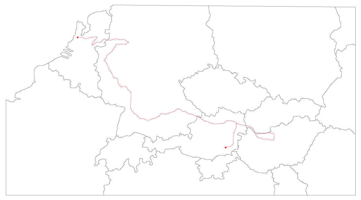 A look at the trip as a whole; starting in the Netherlands and then through Germany. Moving south along the Rhine, the tour eventually turned east to follow the Danube river valley. Turning around at Budapest, the ride ended in Graz, Austria.