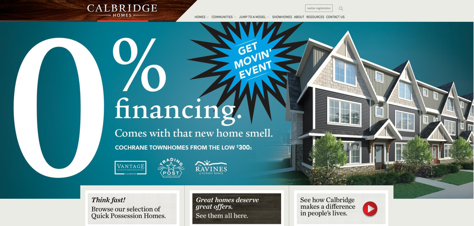 A screenshot of the Calbridge Homes homepage.