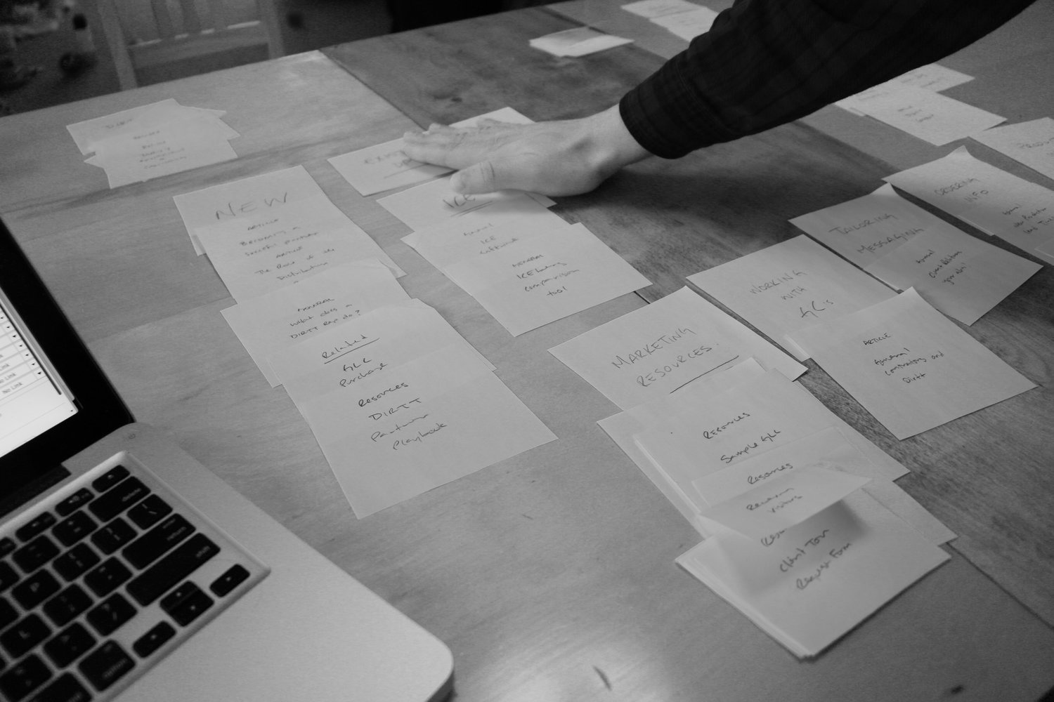 Hands on: Some analog card-sorting helps to clarify the user-experience.
