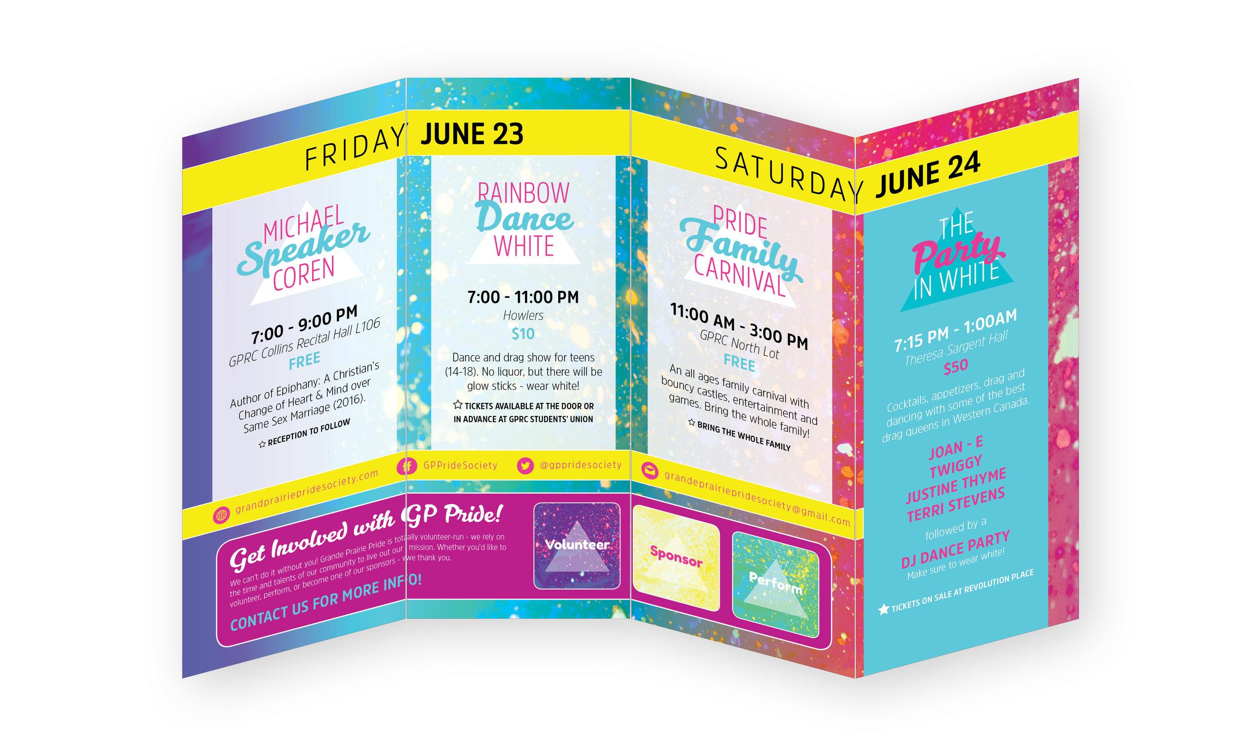 Pride Week brochure, inside spread. 2017.