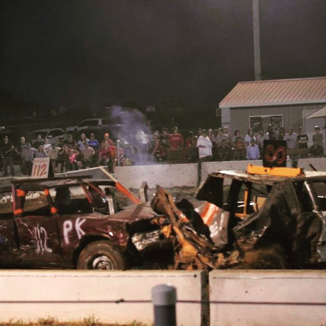 Don't miss all the car crushing action tonight. Demo Derby starts at 7 pm.