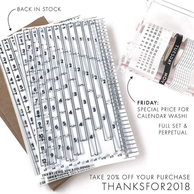 I hope everyone had a safe and loving and wonderfully filled Thanksgiving. Over the next few days I'm choosing a few products to highlight and discount. ➖ Today I'm featuring my calendar washi! Both the full set and the perpetual rolls are on sale. And when you spend $10, you can enjoy 20% off with the code THANKSFOR2018. This coupon is automatically applied to Etsy. Make sure to check back on Saturday and Sunday for more specials. ➖ And for those who've been waiting for the Row&Col Stencil restock, it's available now! ➖ Please note that shipping times are between 1-2 weeks. I'm thankful for everyone who makes a purchase in my shop and I'm even more thankful for your patience.