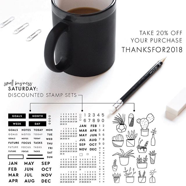 And another sale is live! These three stamp sets are now available at a special weekend price. Don't forget, the 20% sale is automatic on Etsy and available on shop.inkbyjeng.com using the code THANKSFOR2018. ➖ Shipping times are about 1-2 weeks and discounts cannot be applied to previous purchases.