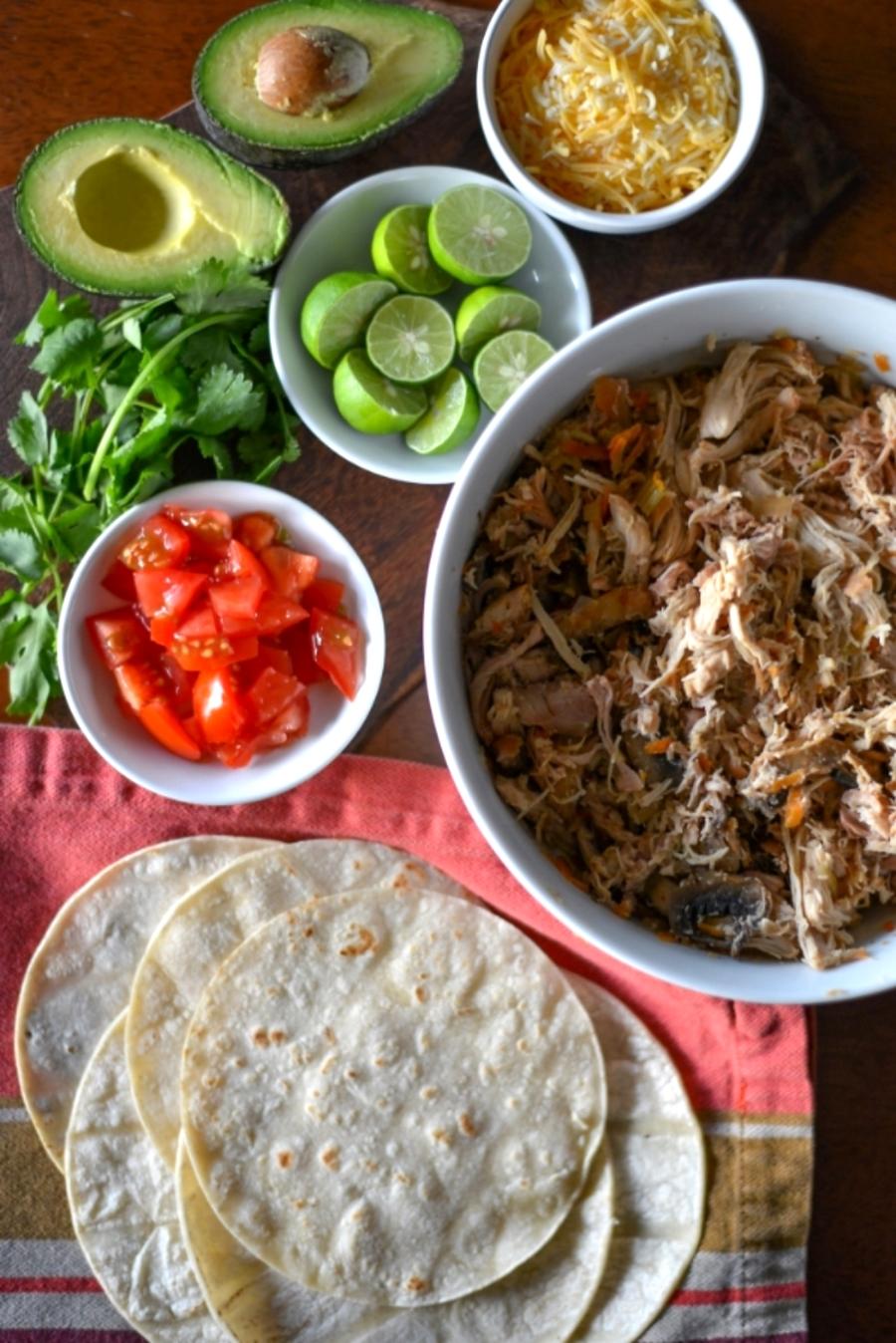 Shredded chicken taco ingredients