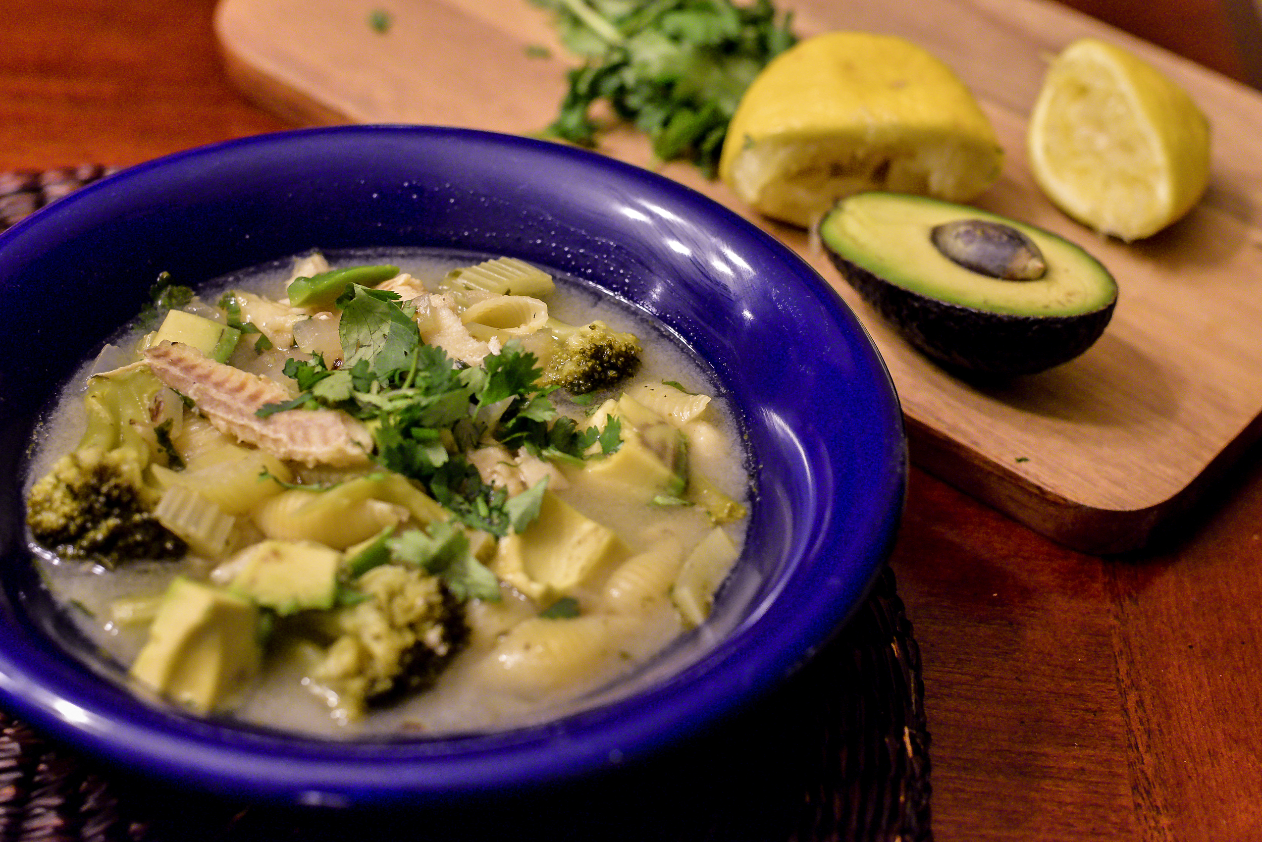 Plated Lemon Fish Soup with Pasta and Broccoli. Serve with a side of crusty bread or hot cheese quesadillas. Delicious!