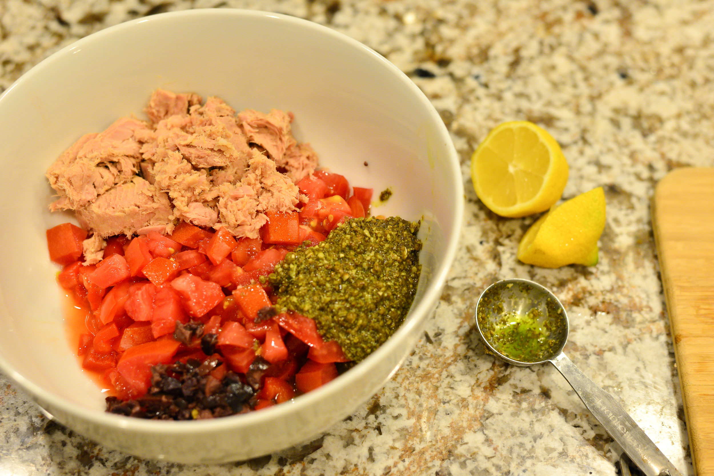 My tuna pasta salad deconstructed. All of this color leads to so much flavor! The combo ofbasil pesto and lemon juice make the flavors pop in this salad.