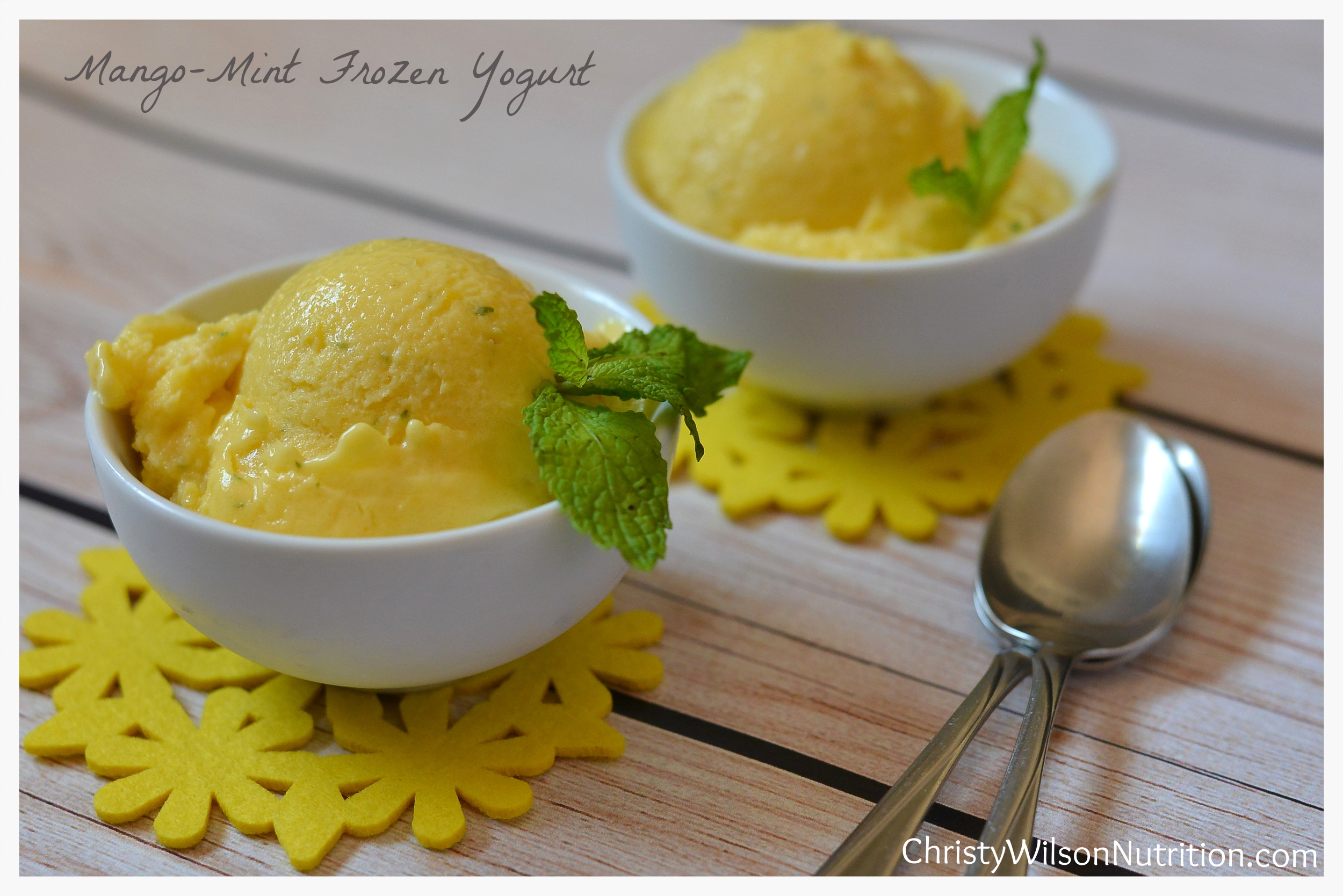 Mango Mint Frozen Yogurt dish