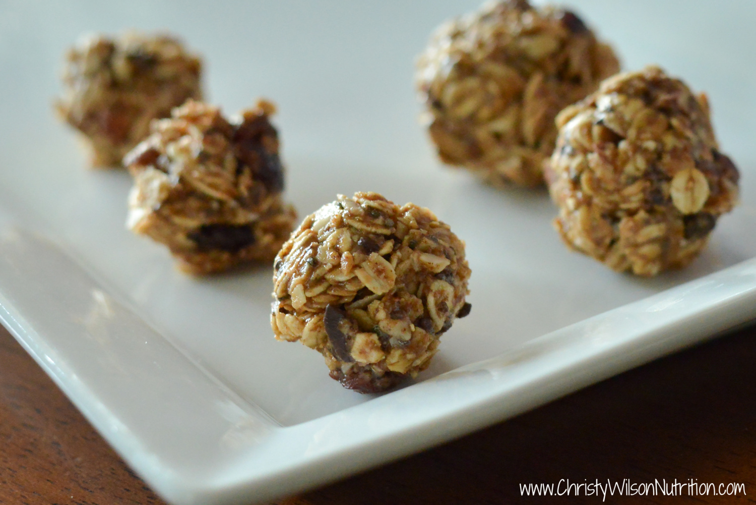 Plated Almond Choco-Cherry Chia energy balls recipes for kids
