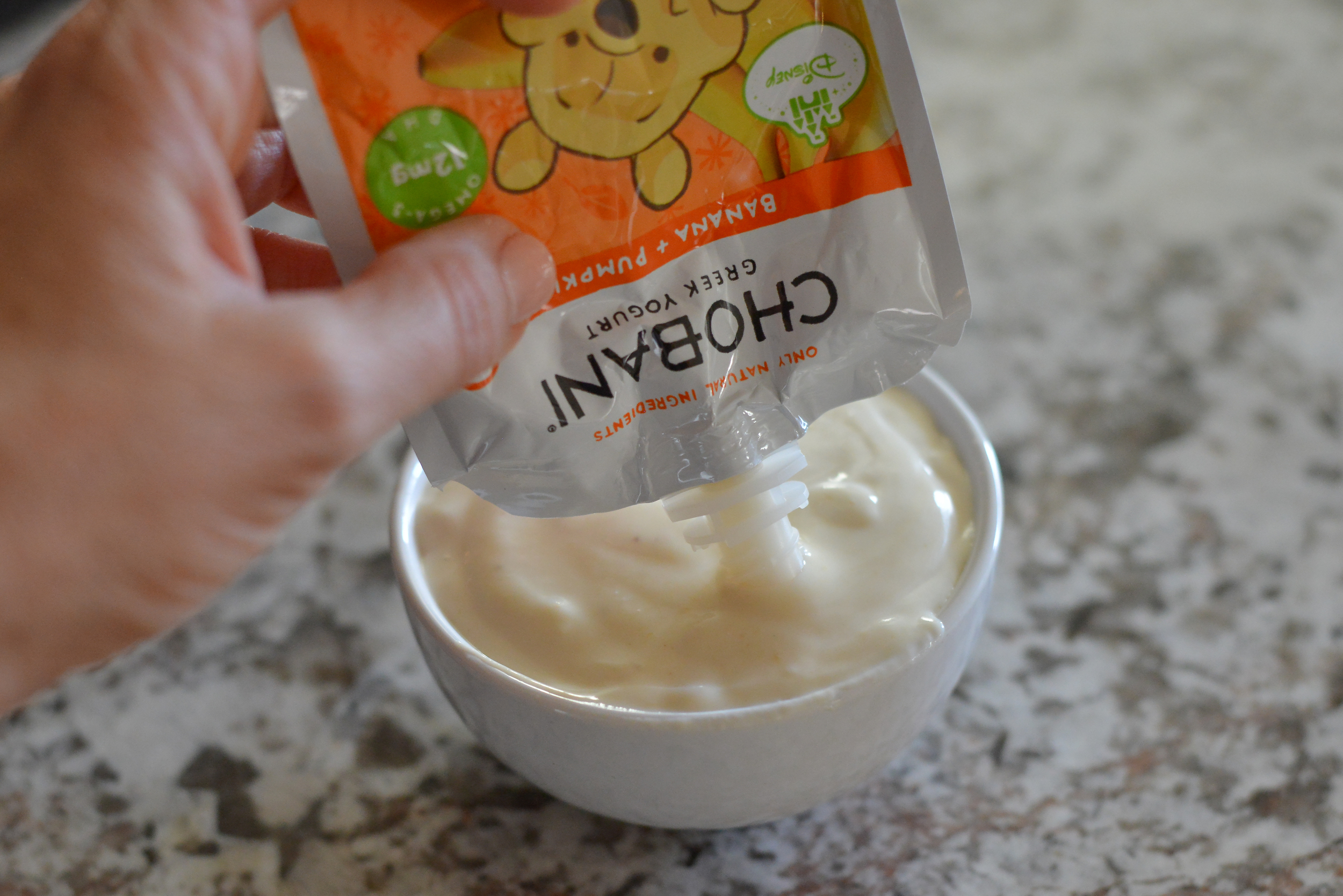 Chobani Tots pouches in Pumpkin and Banana add great flavor and nutrition to this recipe.