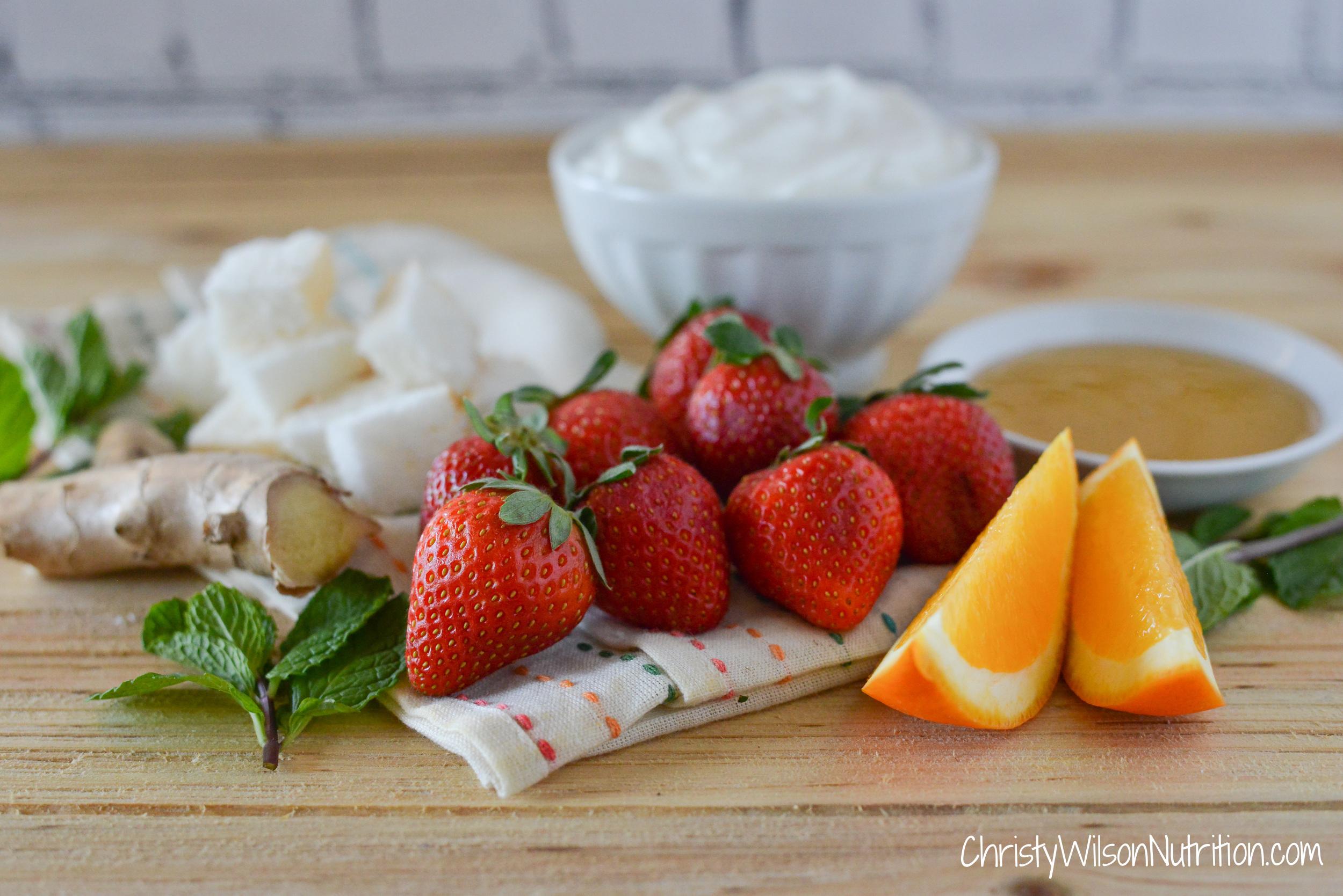 Strawberry Orange Angel Parfait ingredients