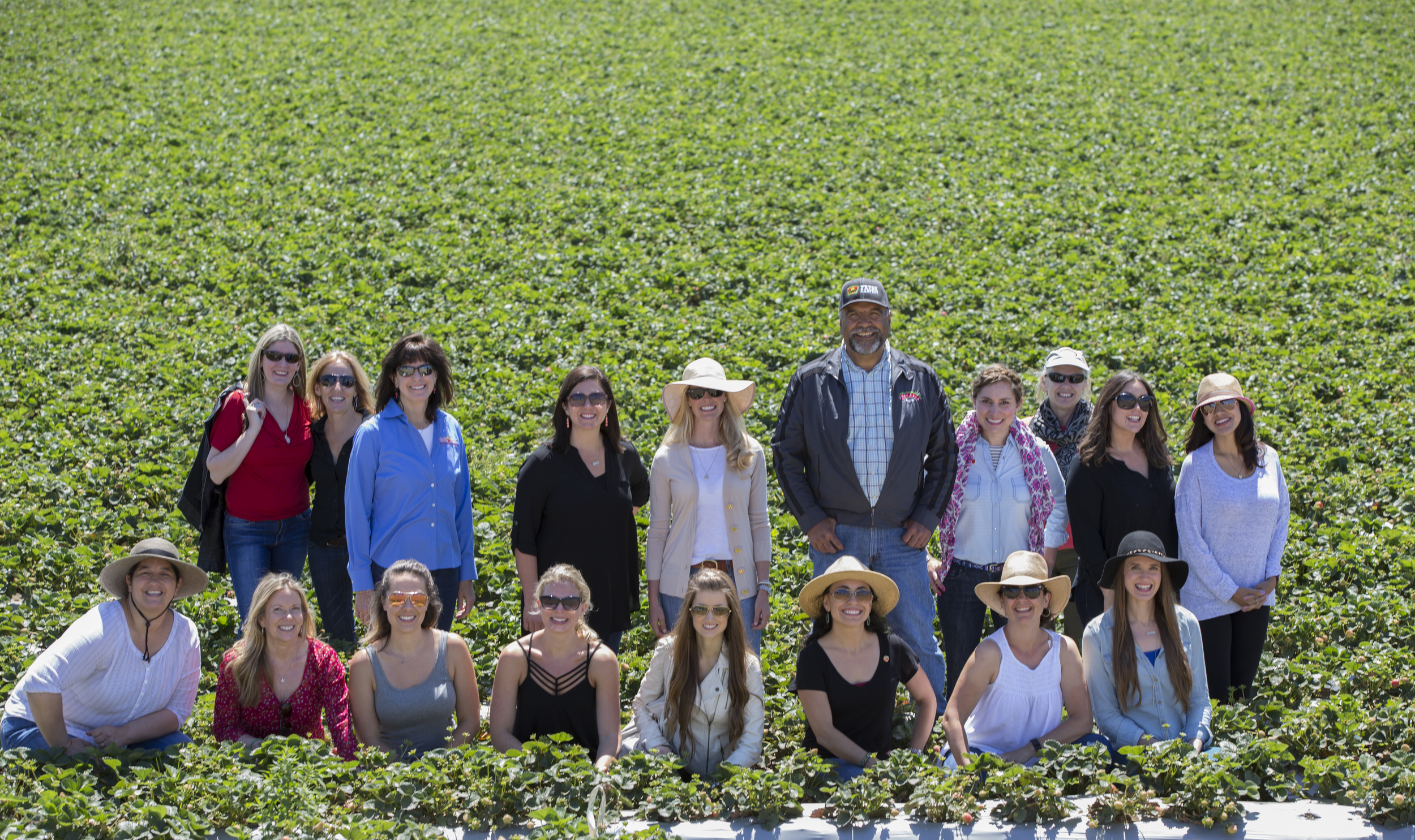 Our fantastic group of CA Strawberry Commission employees and blogger ambassadors at Jesus Alvarado's Fresalva Berry farm. Photo by  Robert Durell Photography