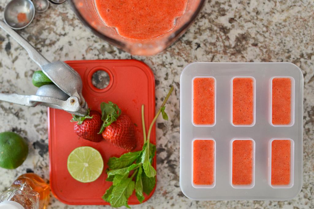 Strawberry Limon paletas prep