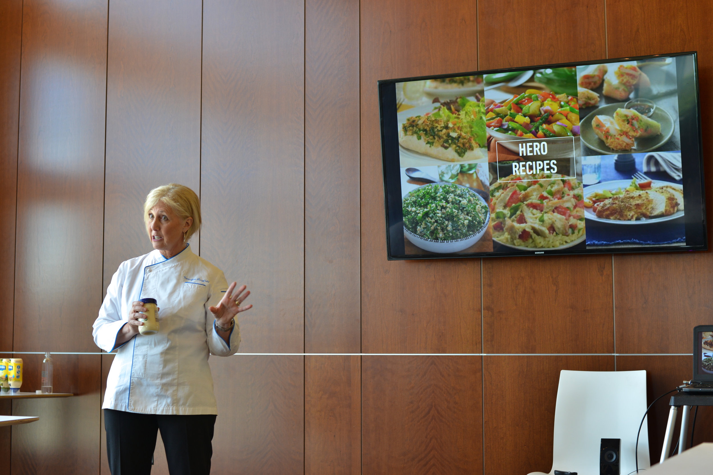 "Unilever Chef Normajean Longfield, head of Unilever Test Kitchen speaking about her work developing recipes. ""I have the best job in the world!"" I agree!"