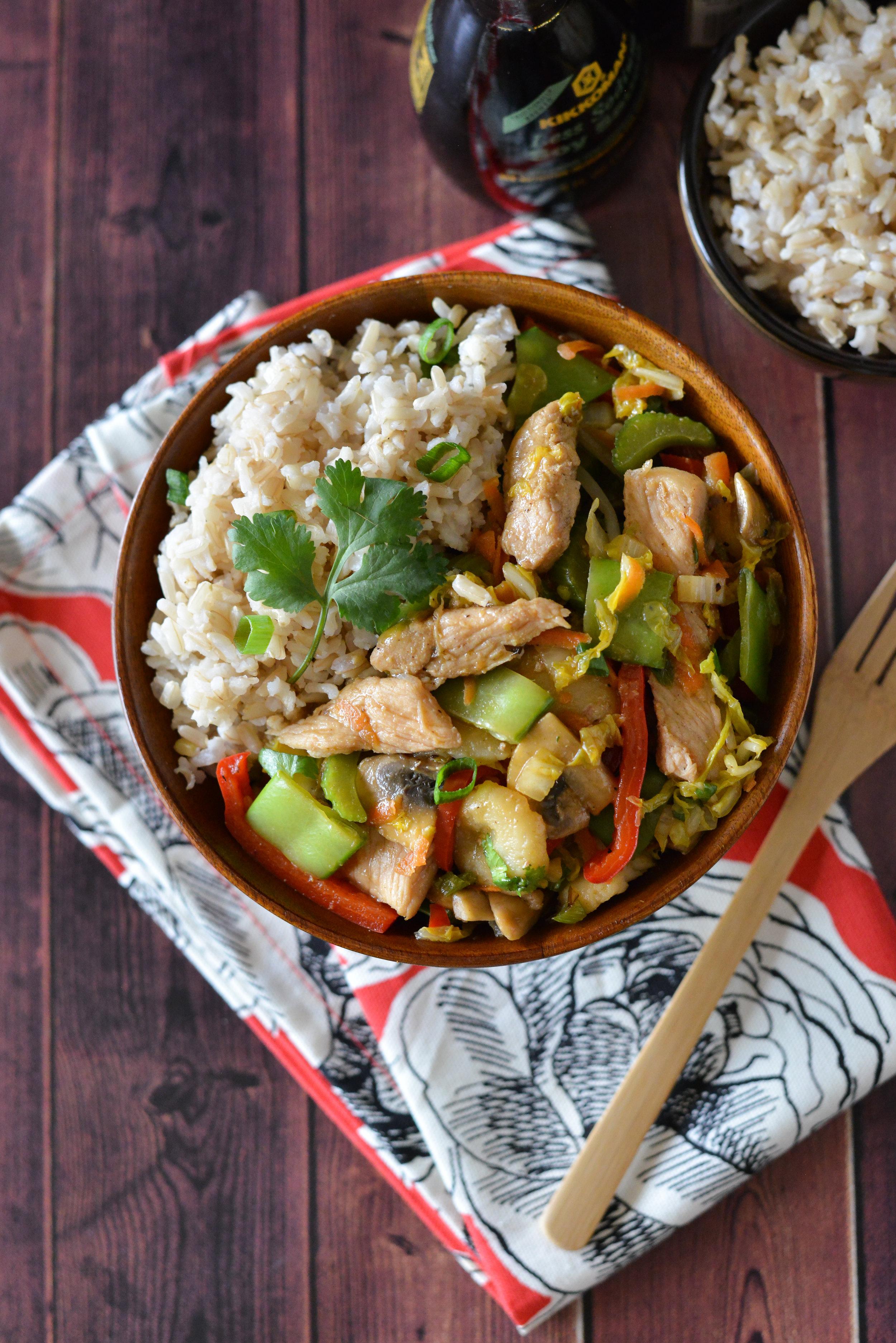 Pork Chop Stir Fry plated